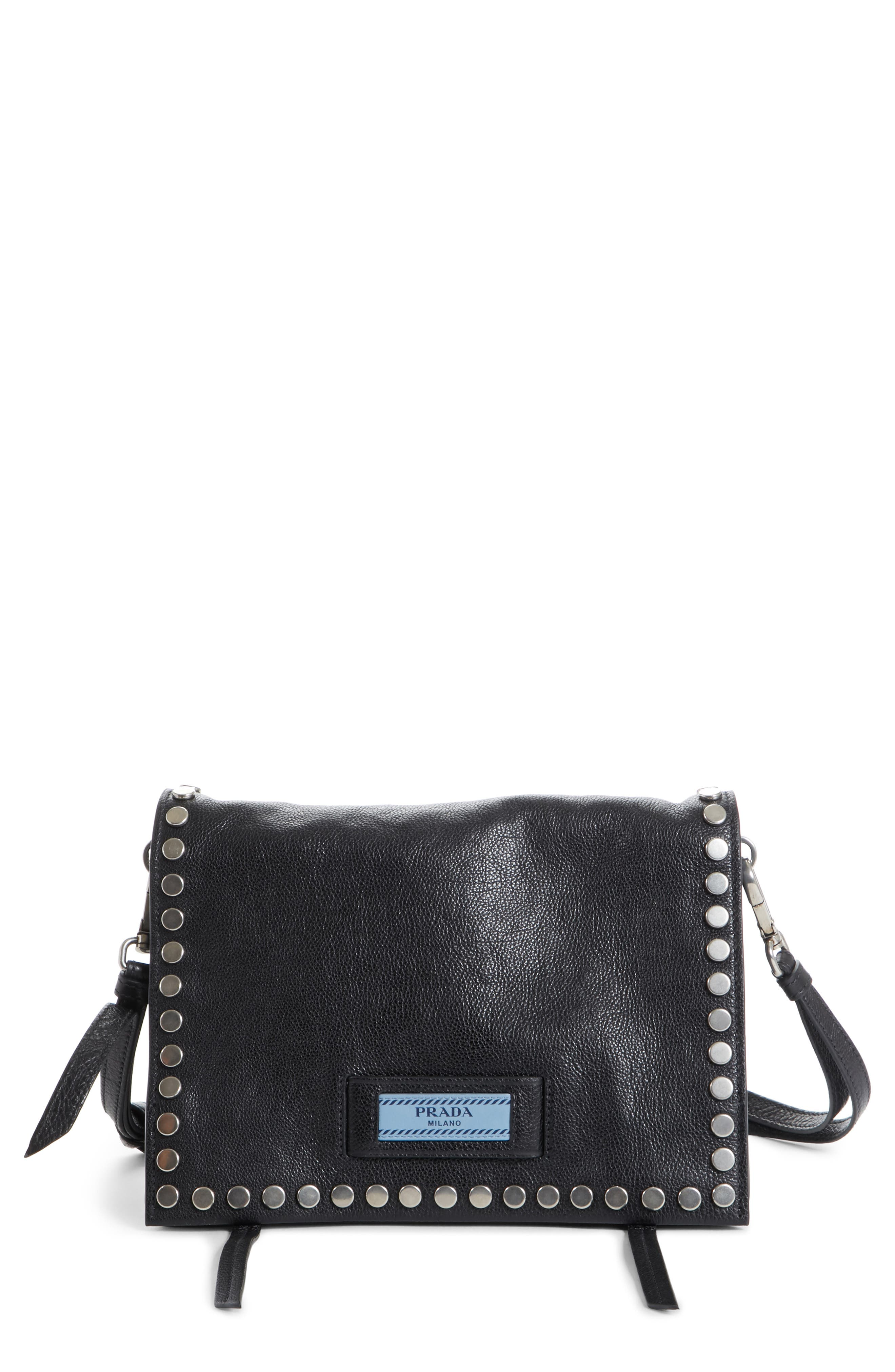 Prada Small Etiquette Studded Calfskin Leather Bag