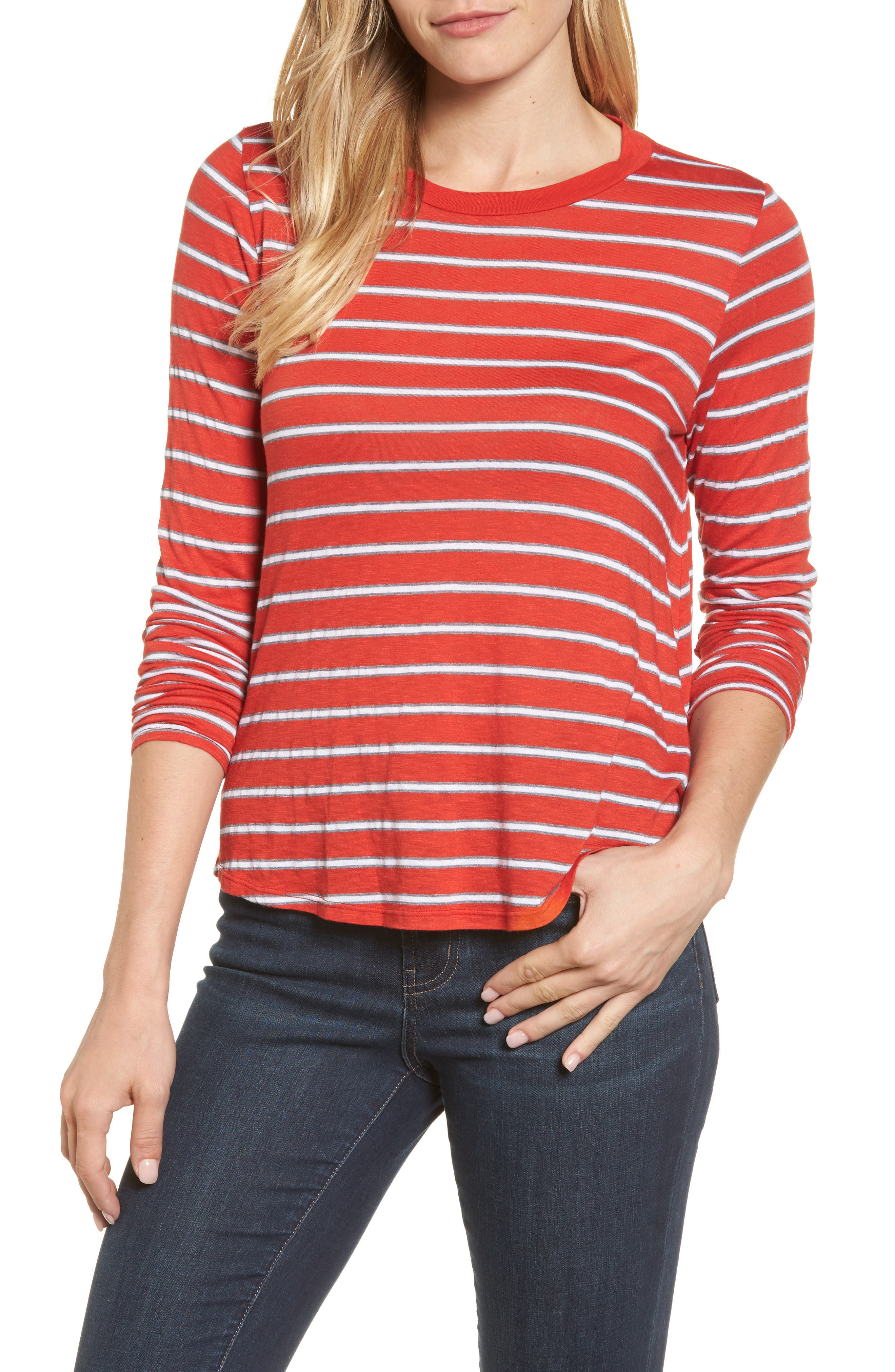 Main Image - Velvet by Graham & Spencer Stripe Modal Knit Top