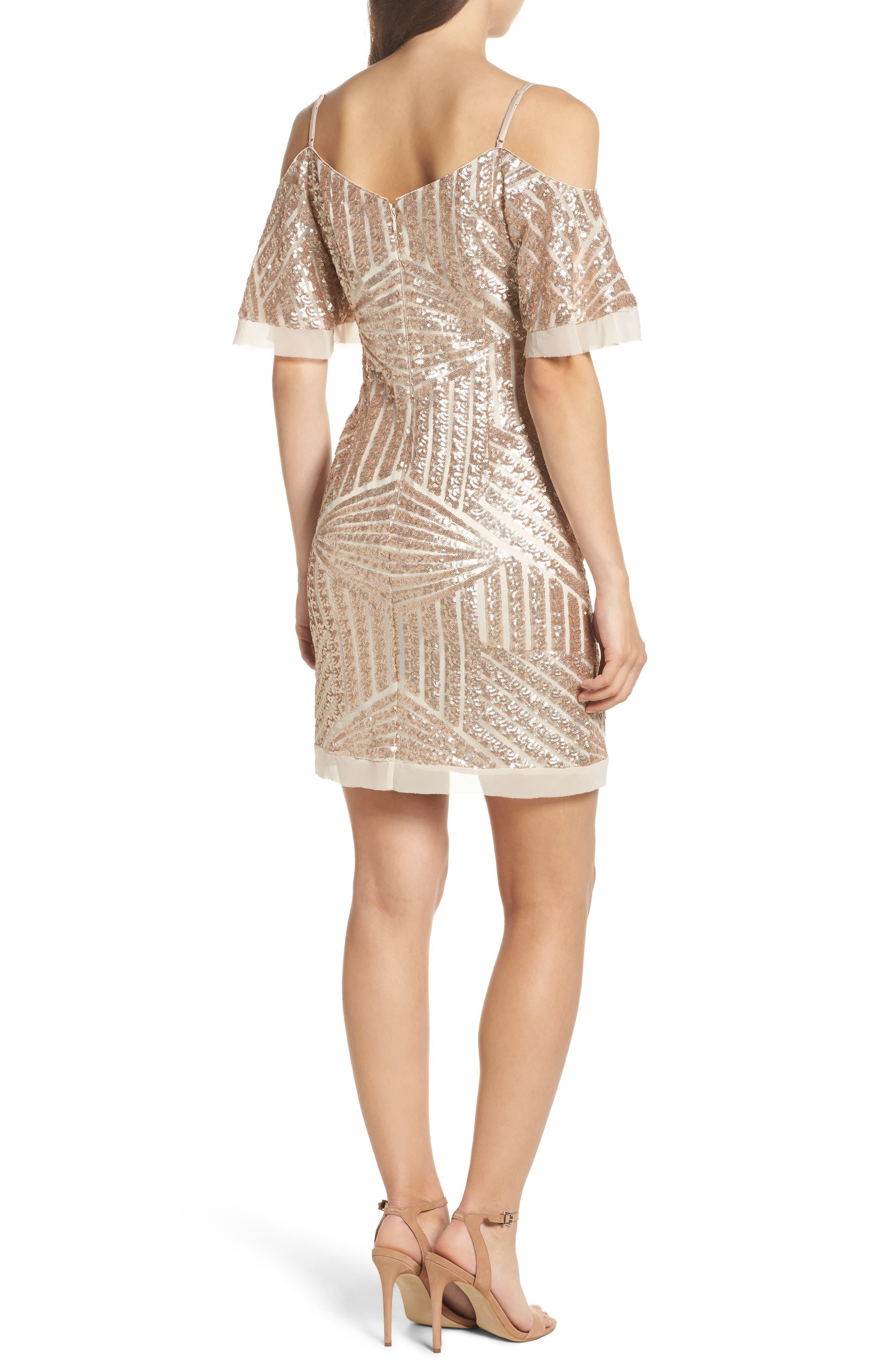 Sequin Cold Shoulder Dress,                             Alternate thumbnail 2, color,                             Champagne