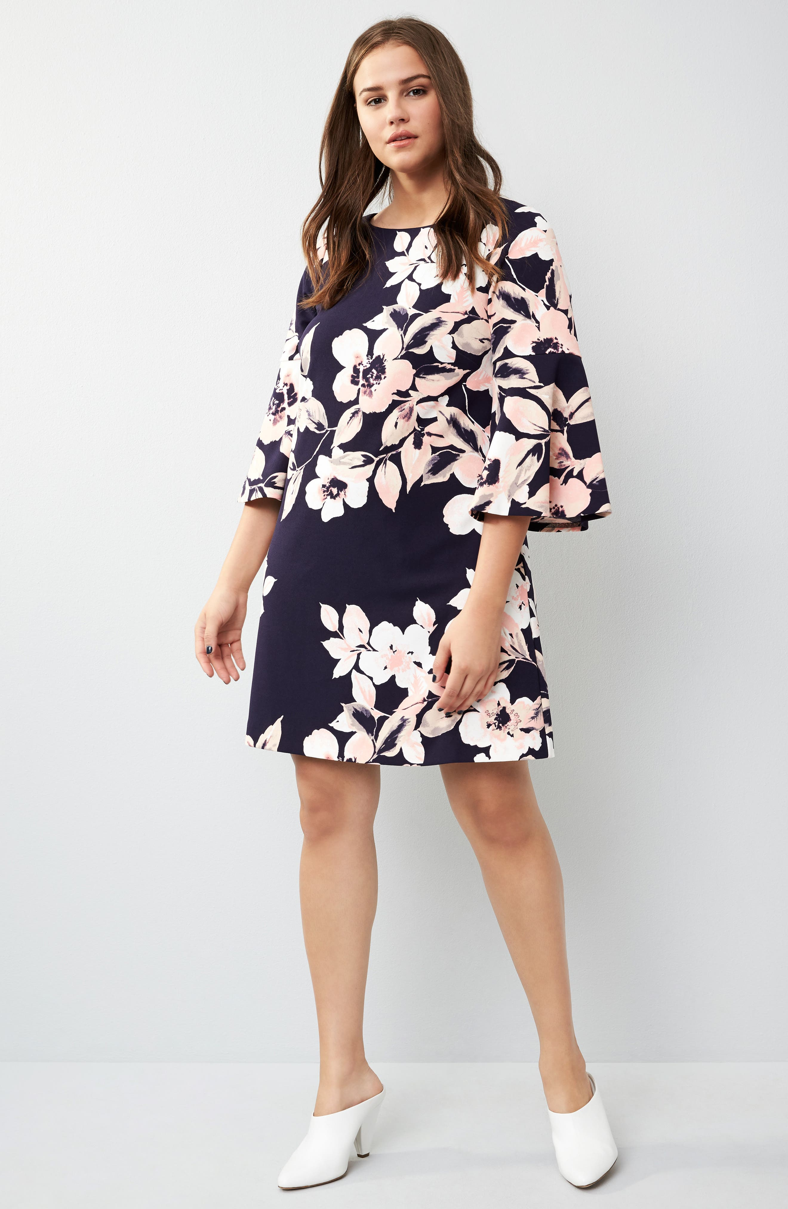 Bell Cuff Floral Shift Dress,                             Alternate thumbnail 2, color,                             Navy