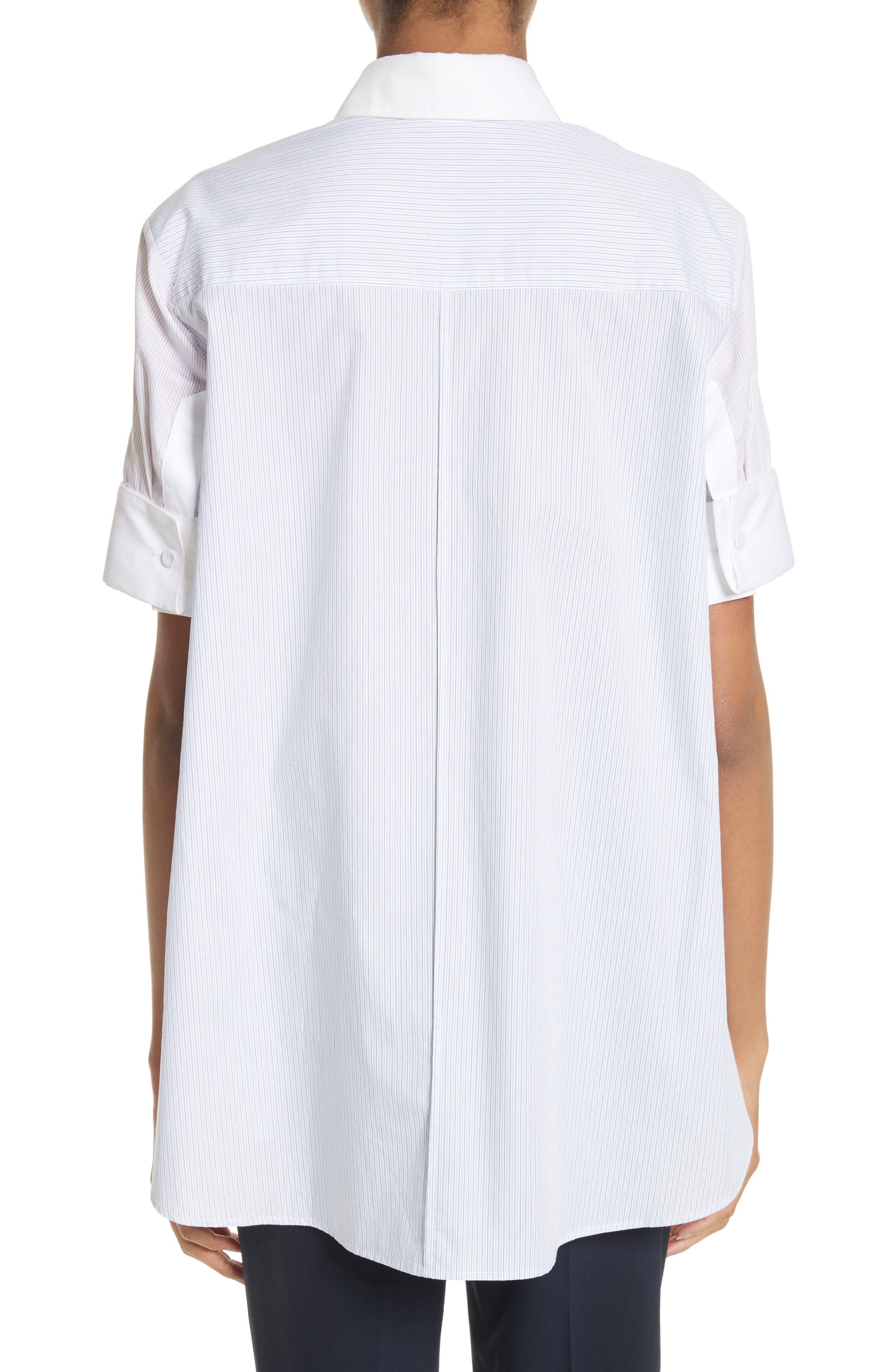 Stripe Cotton Trapeze Shirt,                             Alternate thumbnail 2, color,                             Red/ Blue