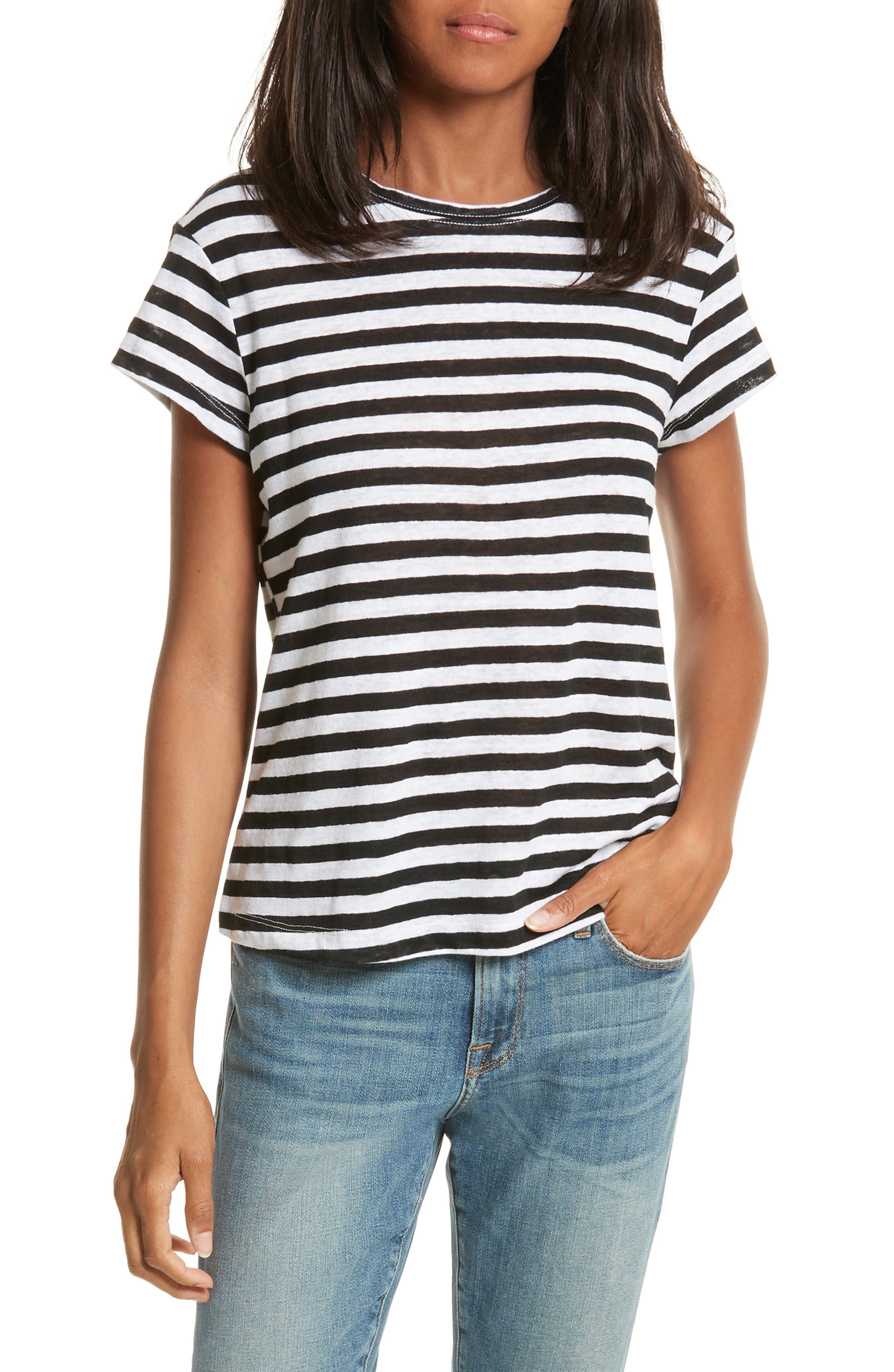 Alternate Image 1 Selected - FRAME Stripe Crew Tee (Nordstrom Exclusive)