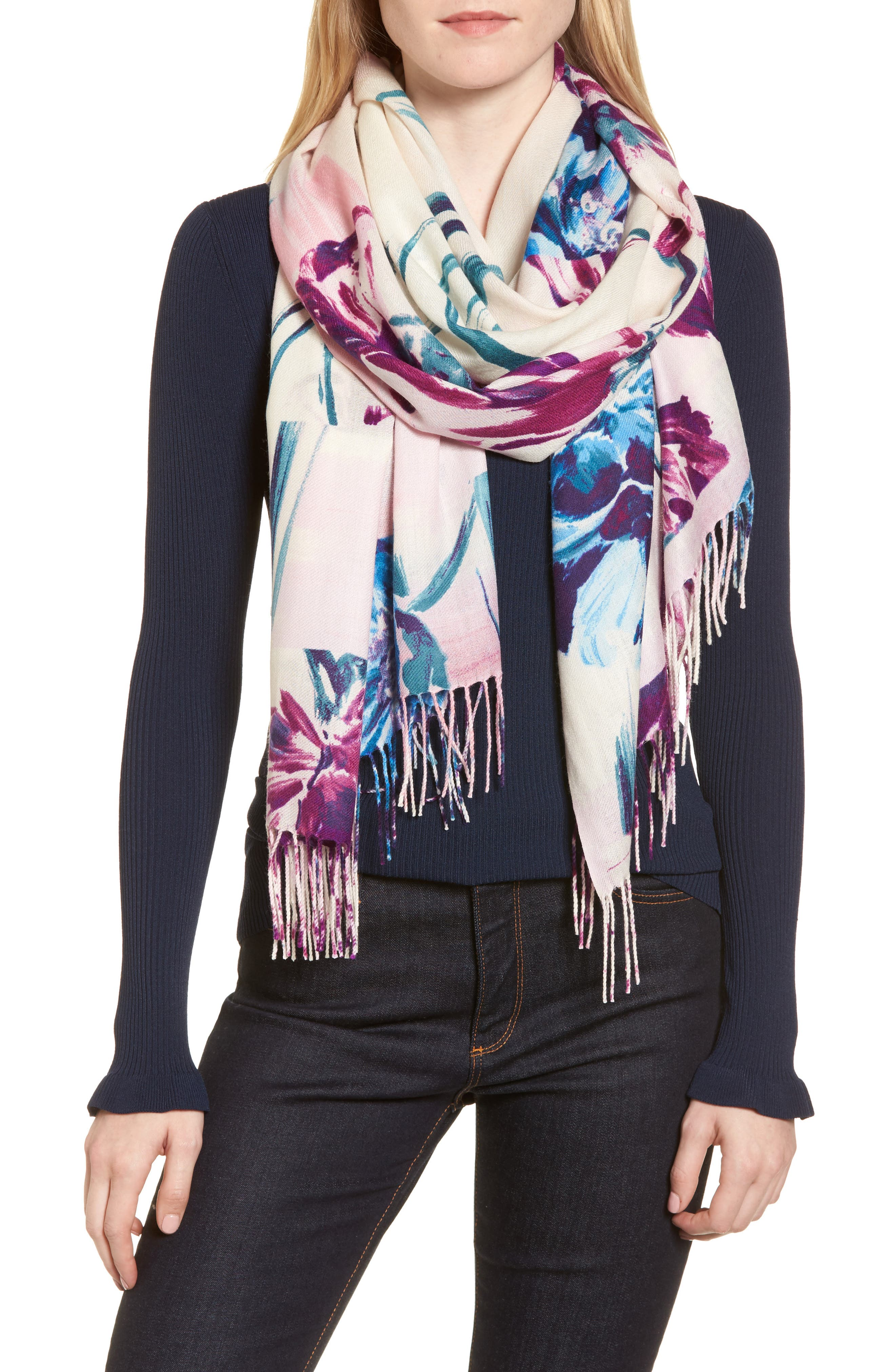 Tissue Print Wool & Cashmere Wrap Scarf,                         Main,                         color, Pink Abstract Still Life