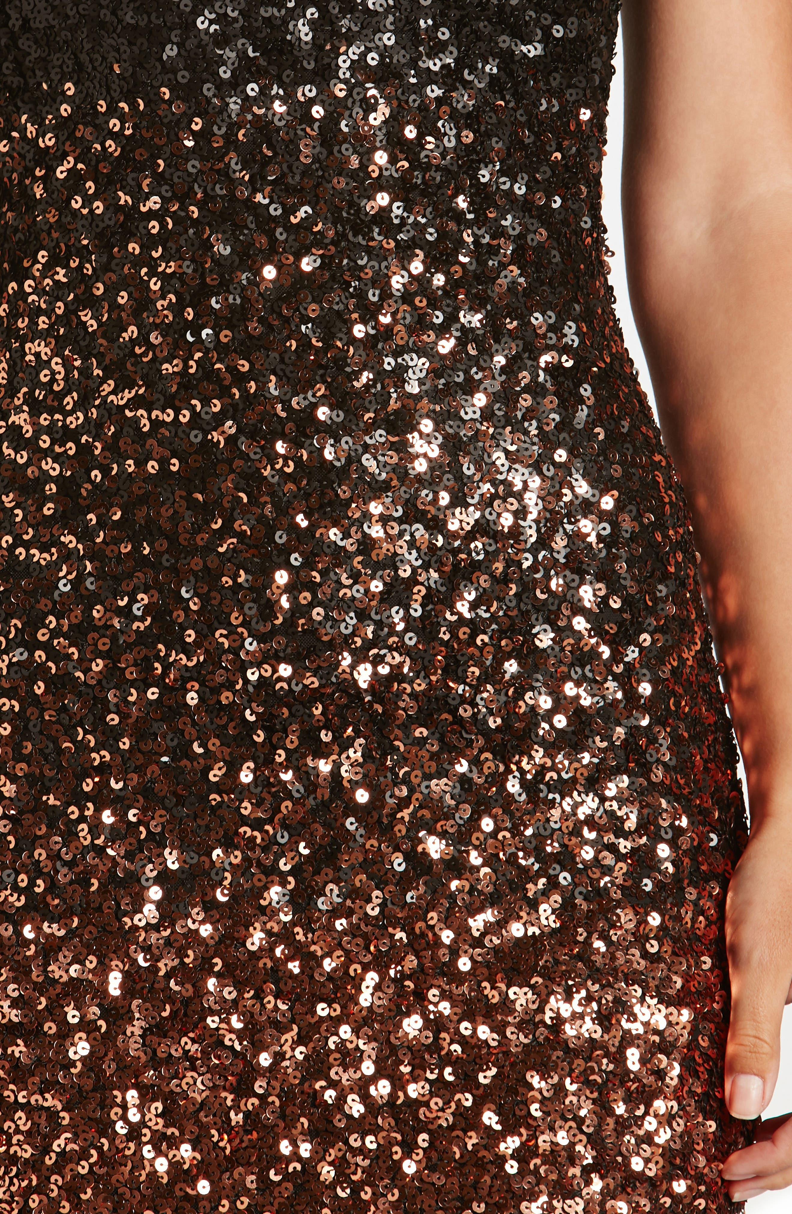 Marcella Ombré Sequin Body-Con Dress,                             Alternate thumbnail 4, color,                             Copper/ Black