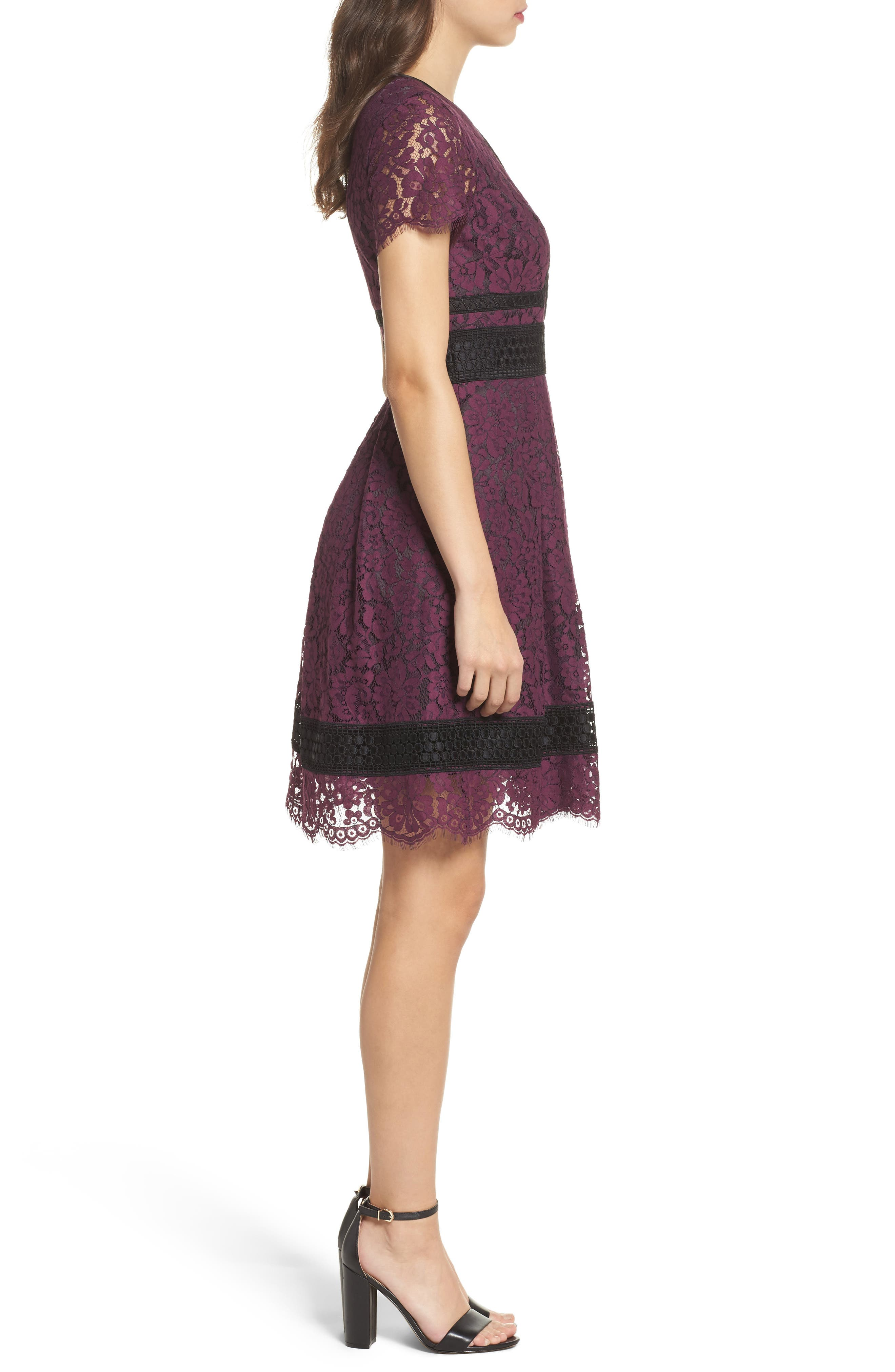 Lace Fit & Flare Dress,                             Alternate thumbnail 3, color,                             Raisin