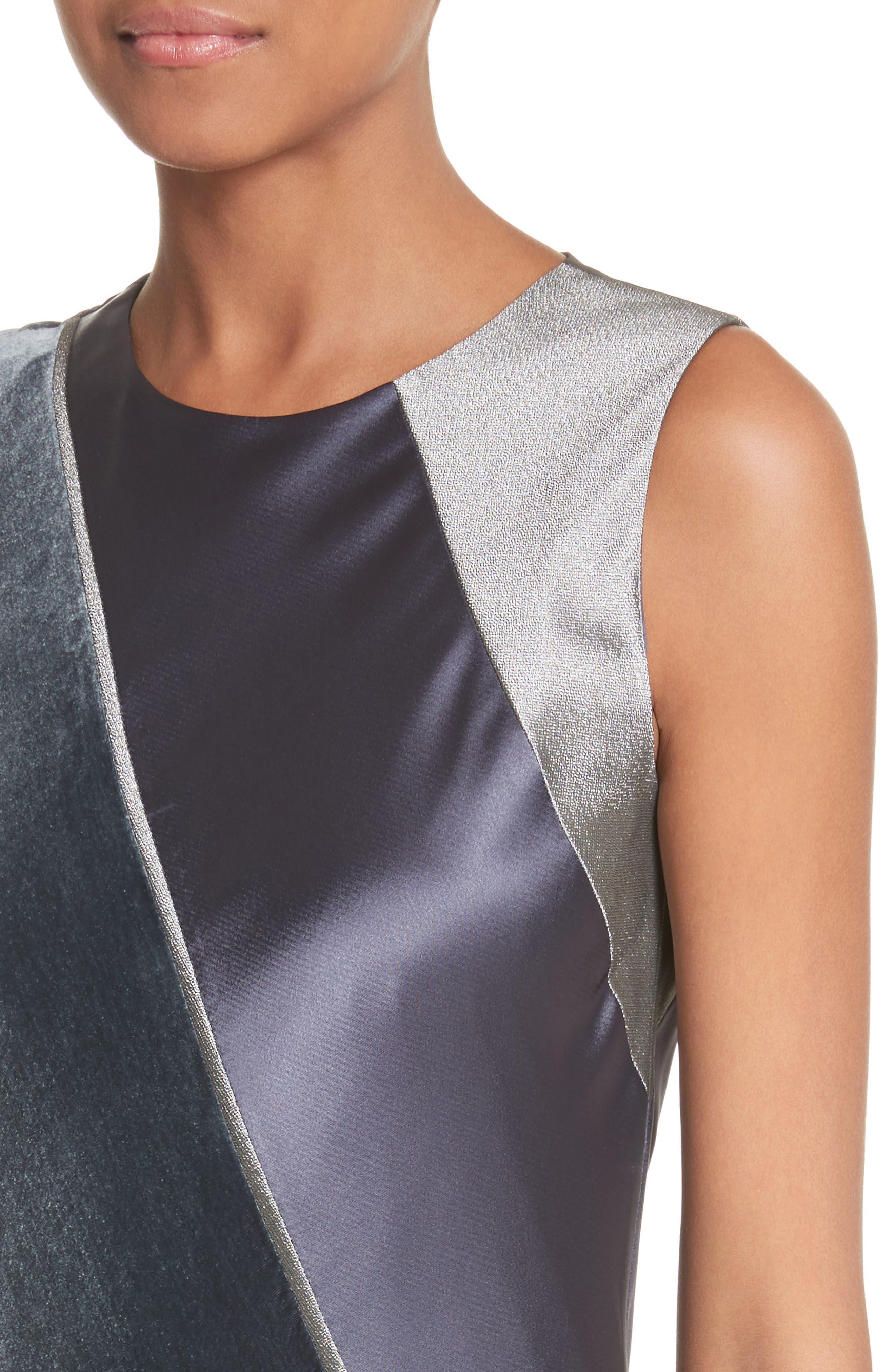 Madelia Velvet & Satin Midi Dress,                             Alternate thumbnail 4, color,                             Admiral Blue
