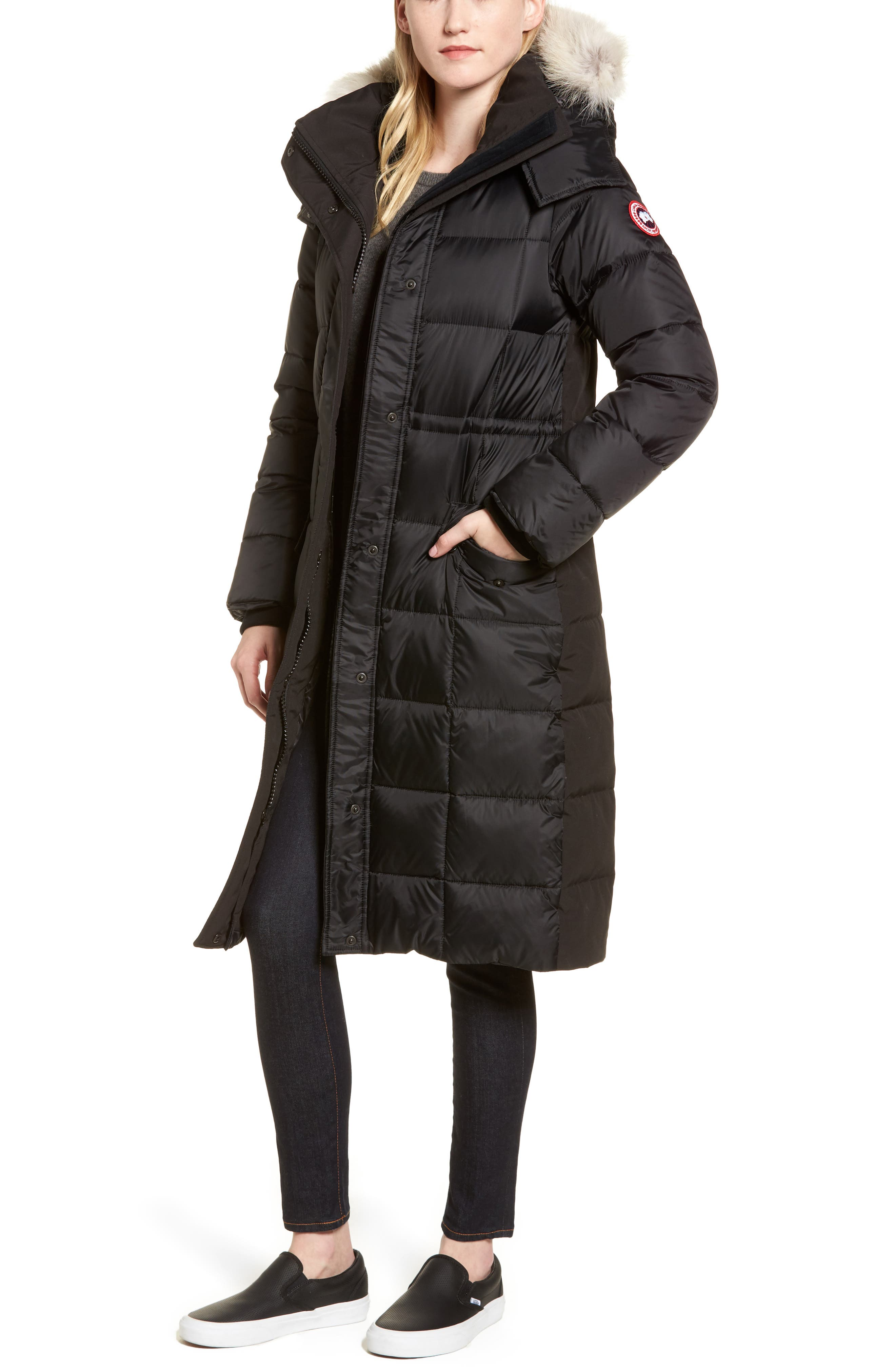 Lunenberg Hooded Down Parka with Genuine Coyote Fur Trim,                             Main thumbnail 1, color,                             Black