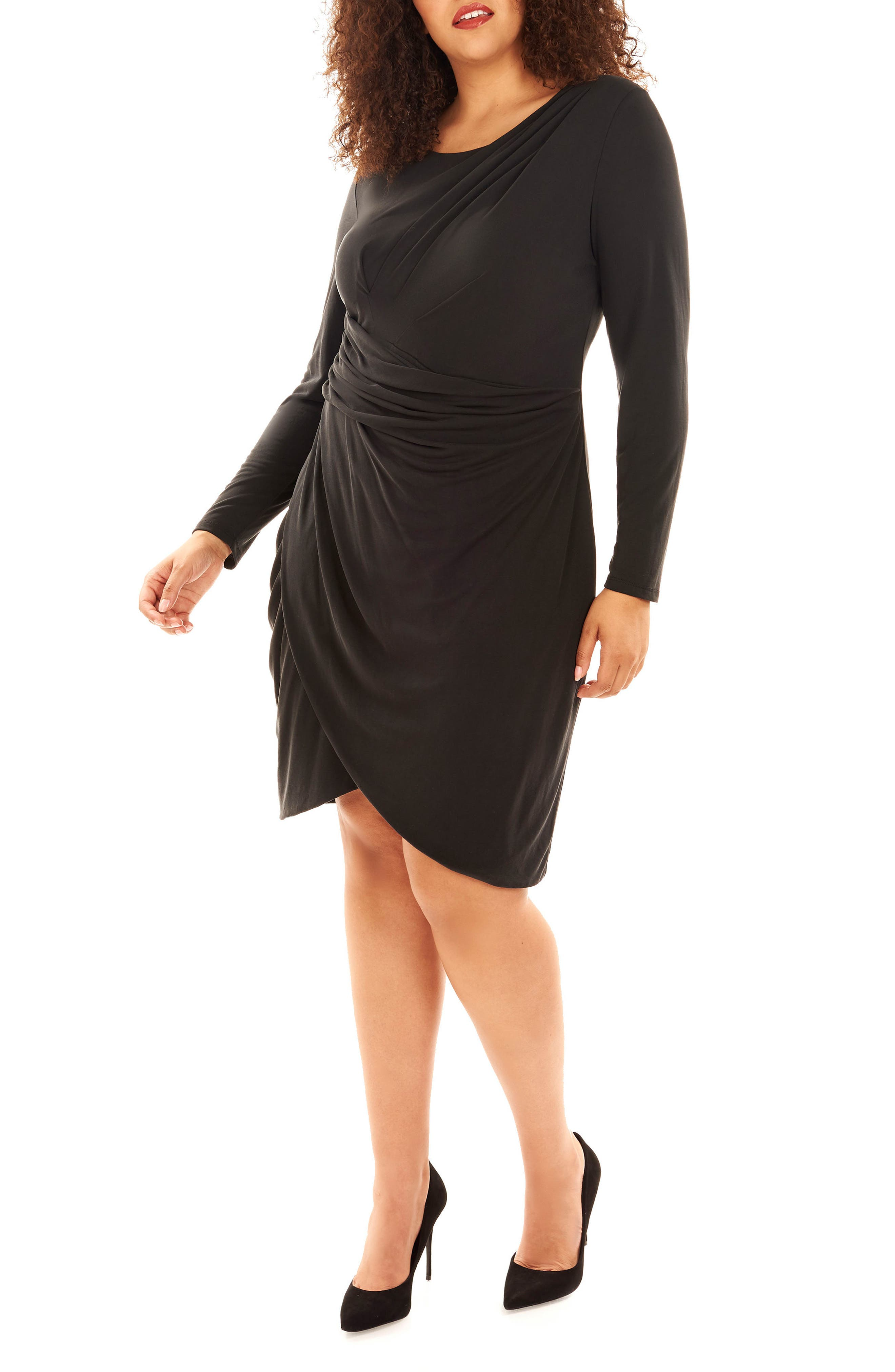 Pleated Faux Wrap Dress,                             Main thumbnail 1, color,                             Black