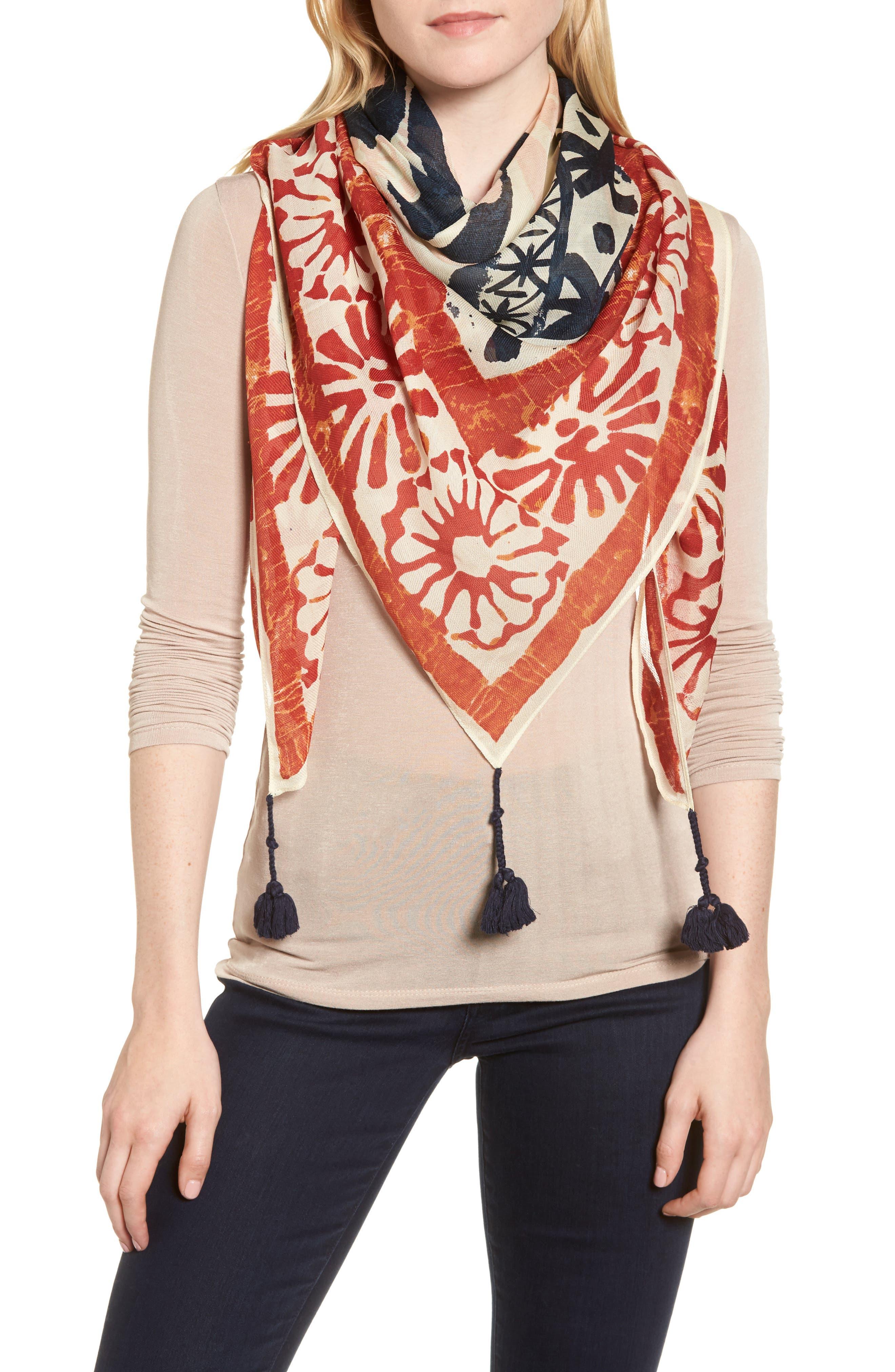 Tassel Wool & Silk Scarf,                         Main,                         color, Neutral
