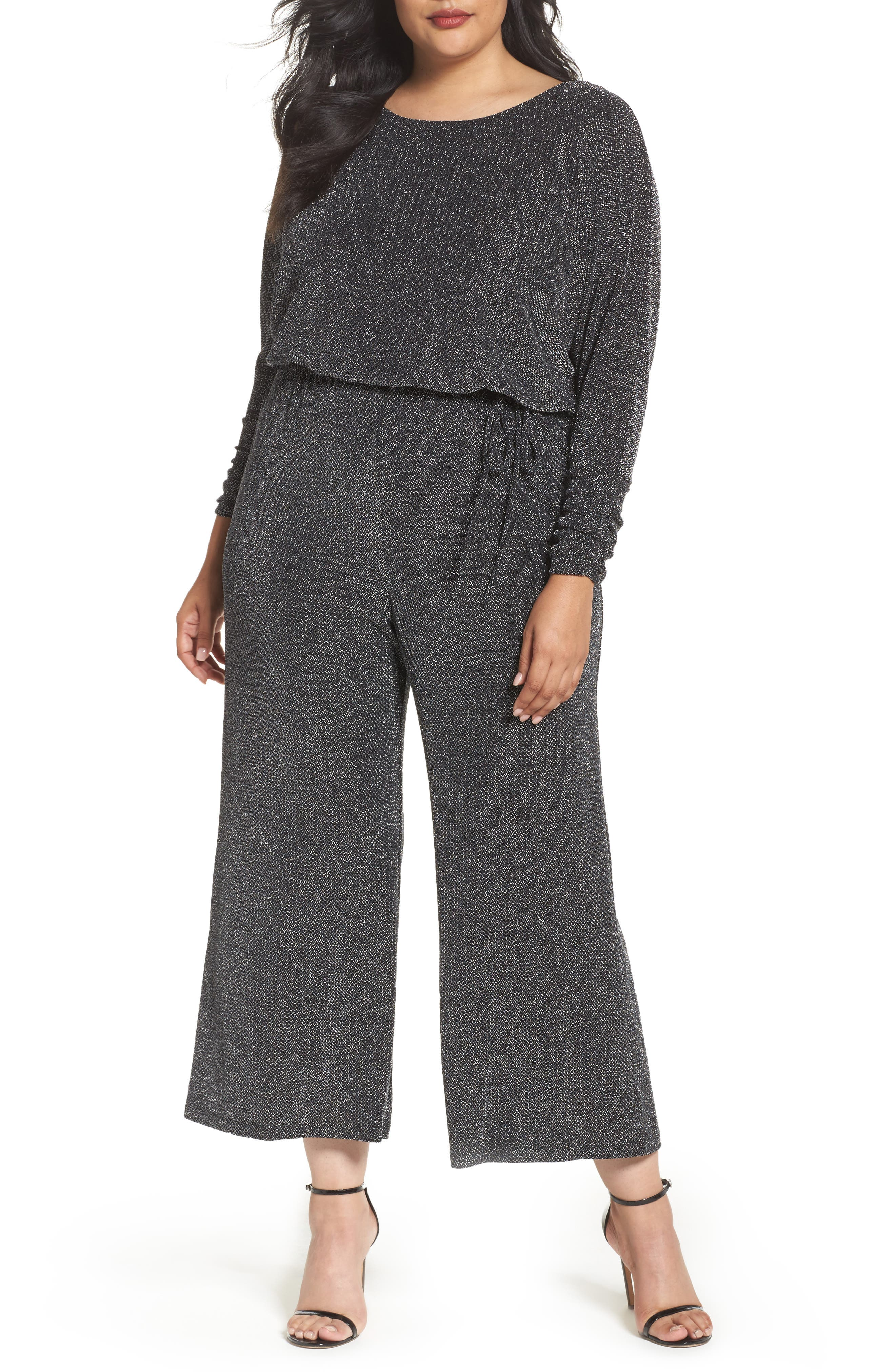Metallic Knit Jumpsuit,                             Main thumbnail 1, color,                             Black/ Silver