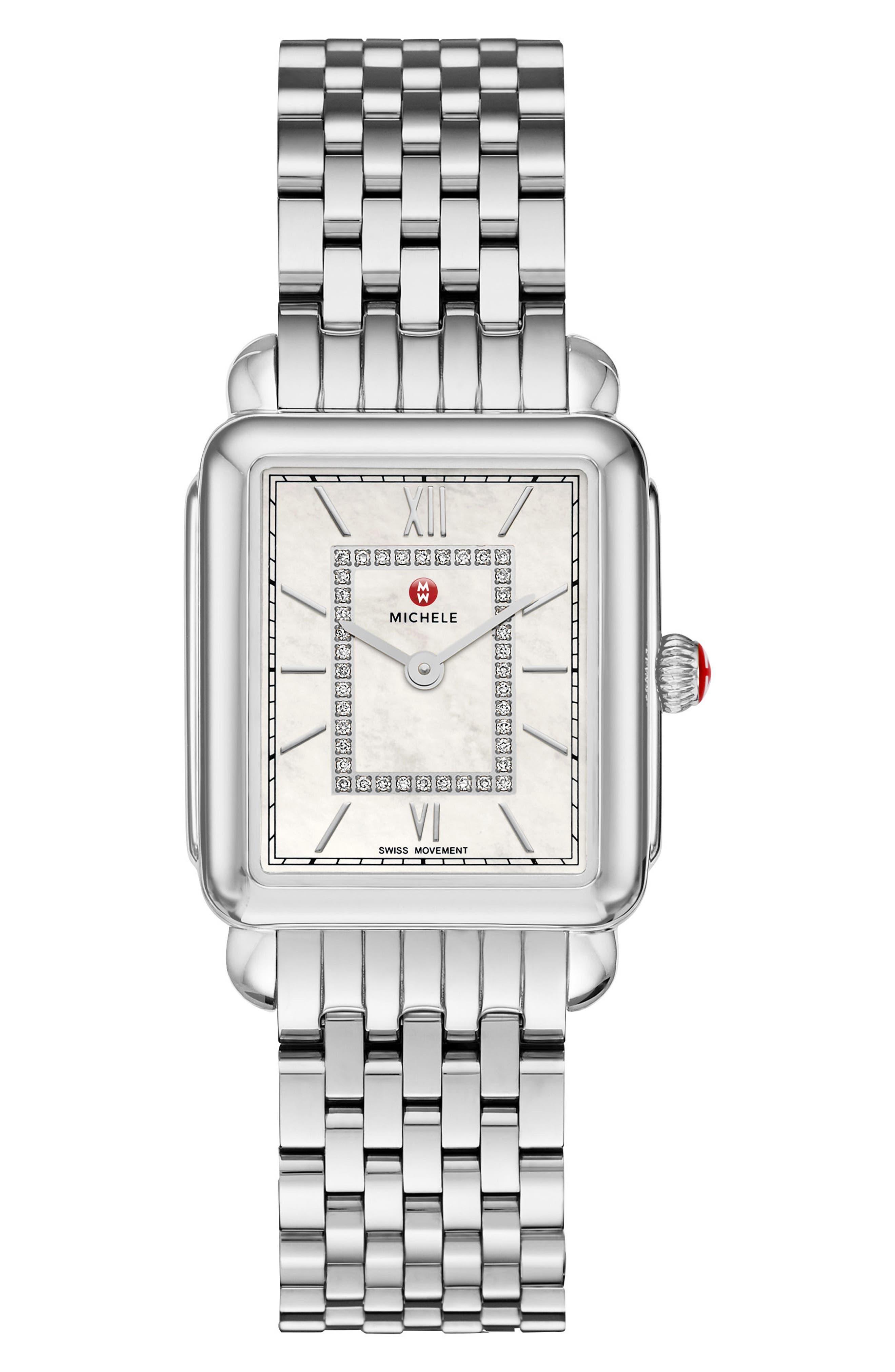 Alternate Image 2  - MICHELE Deco II Mid Diamond Watch Head, 25mm x 30mm