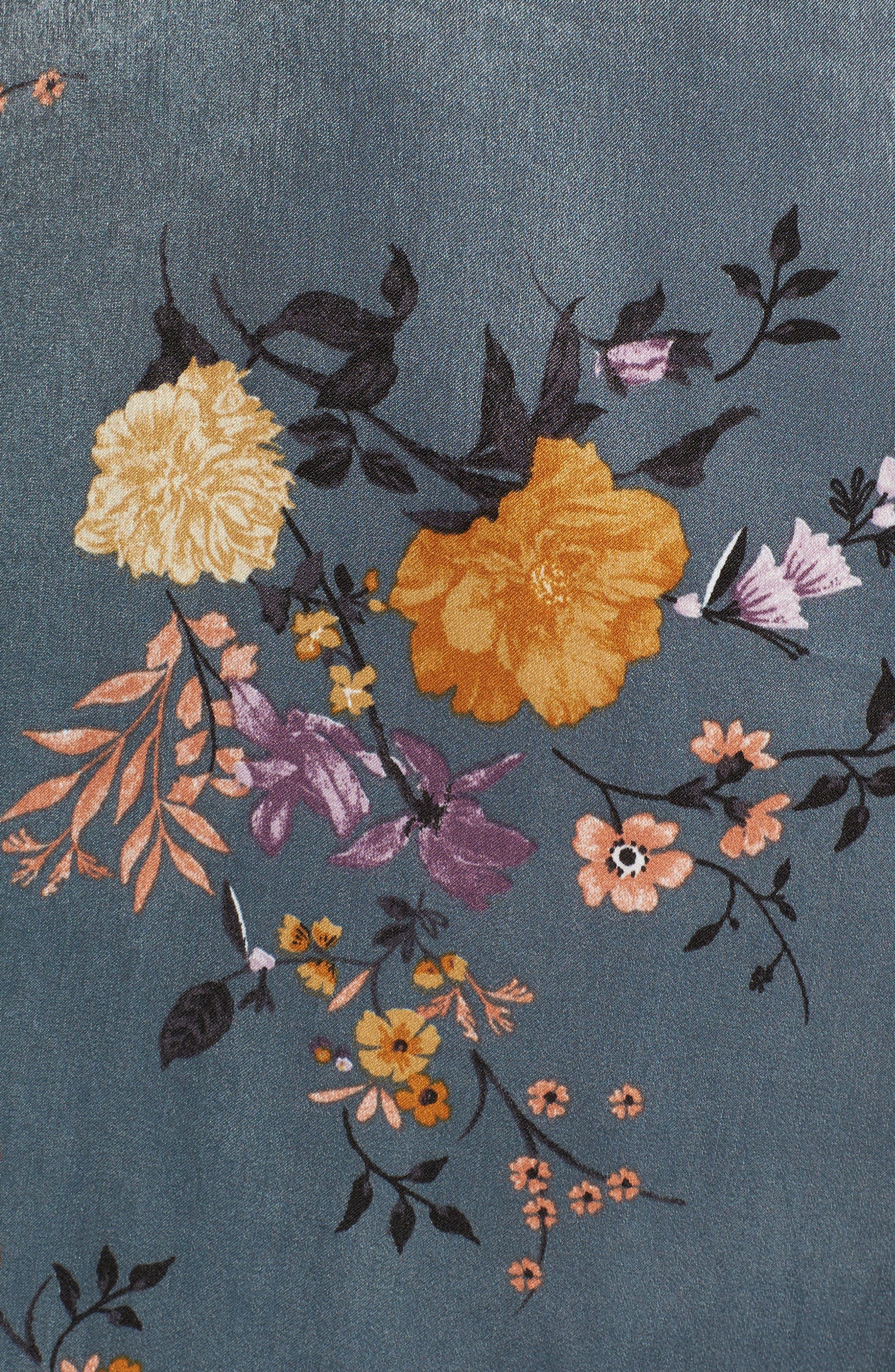 Satin Wrap Kimono,                             Alternate thumbnail 5, color,                             Storm Blue Print