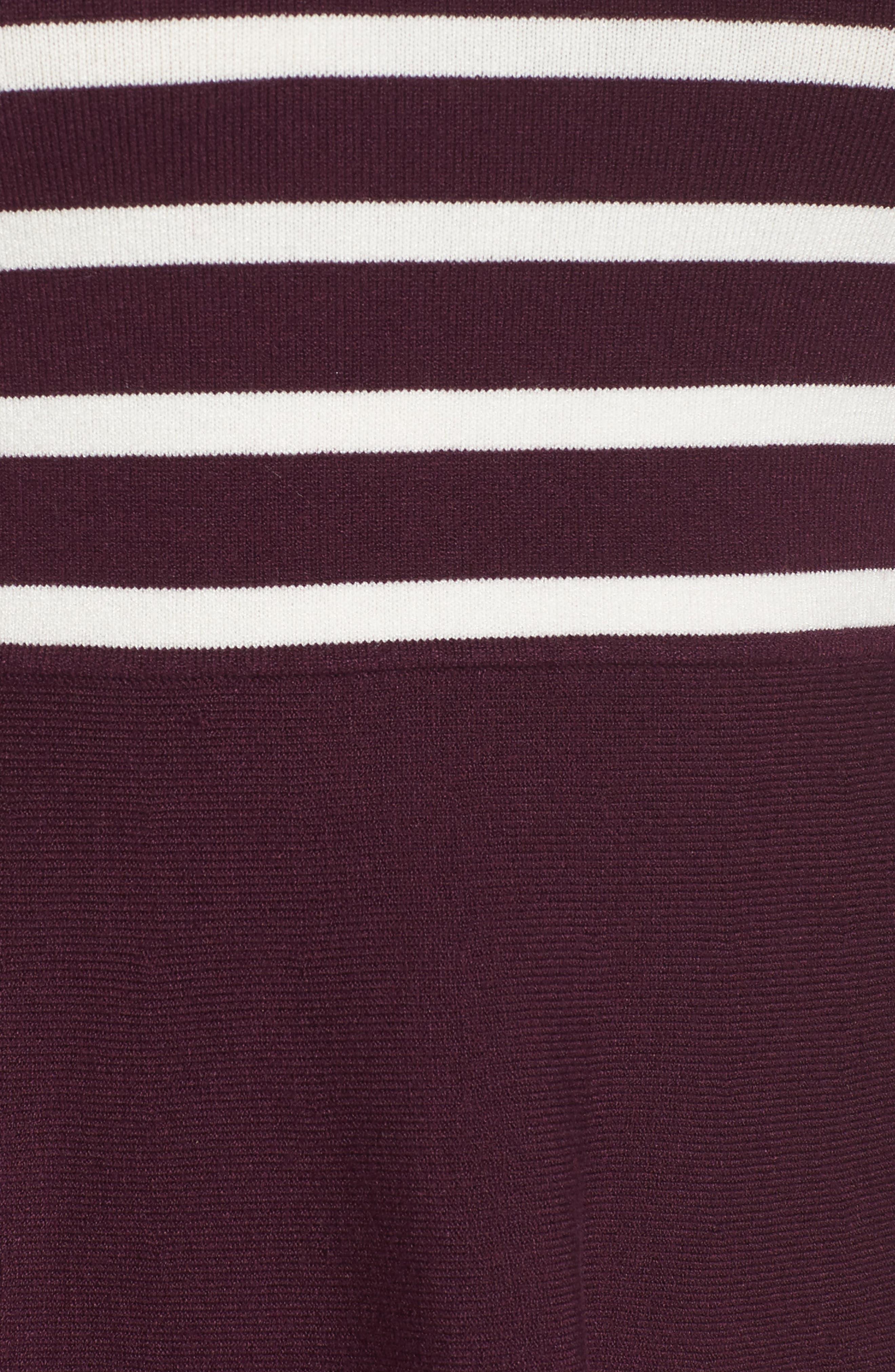 Stripe Mock Neck Fit & Flare Dress,                             Alternate thumbnail 5, color,                             Wine