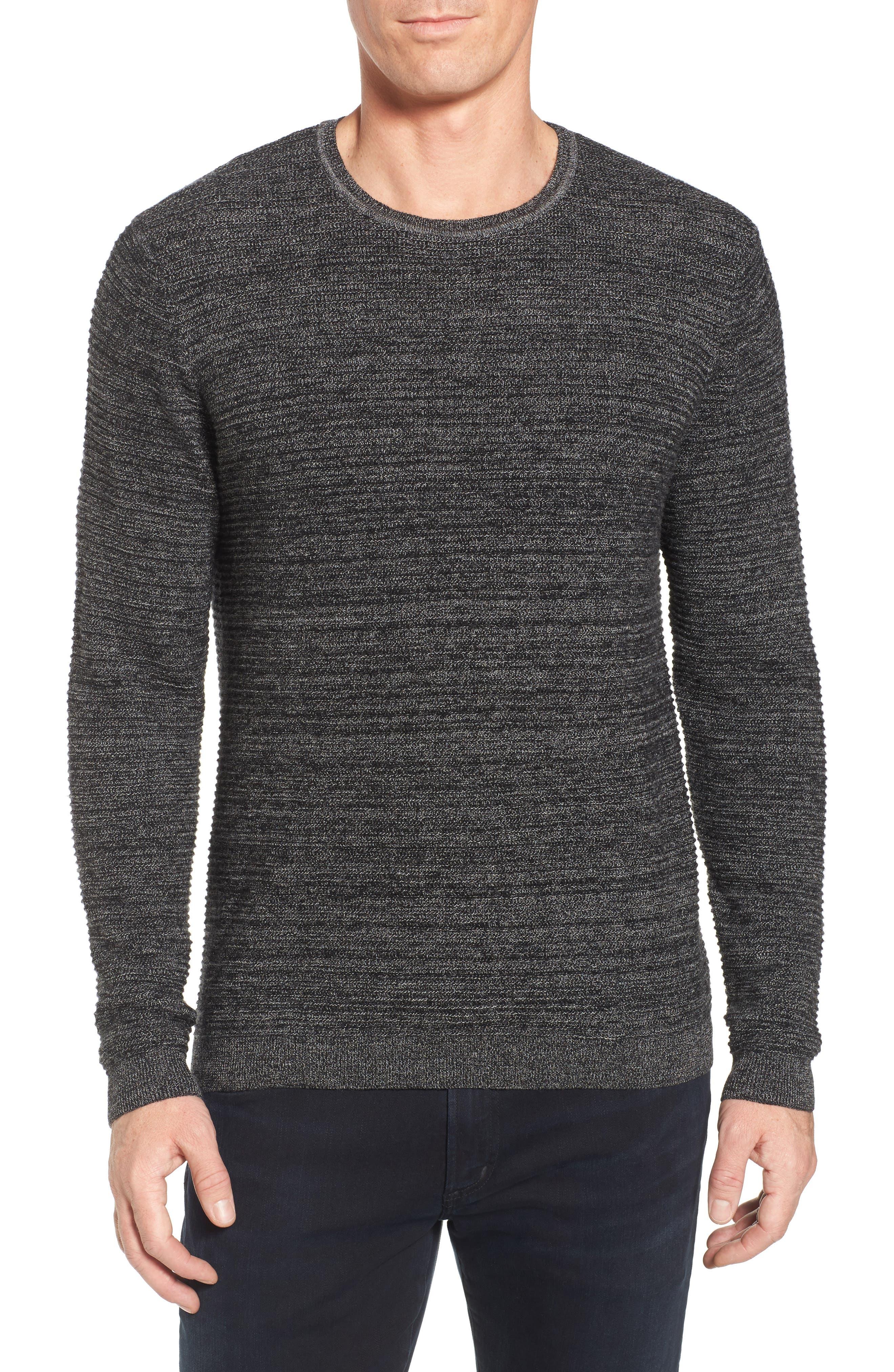 Ottoman Wool Blend Sweater,                         Main,                         color, Black Caviar Jaspe