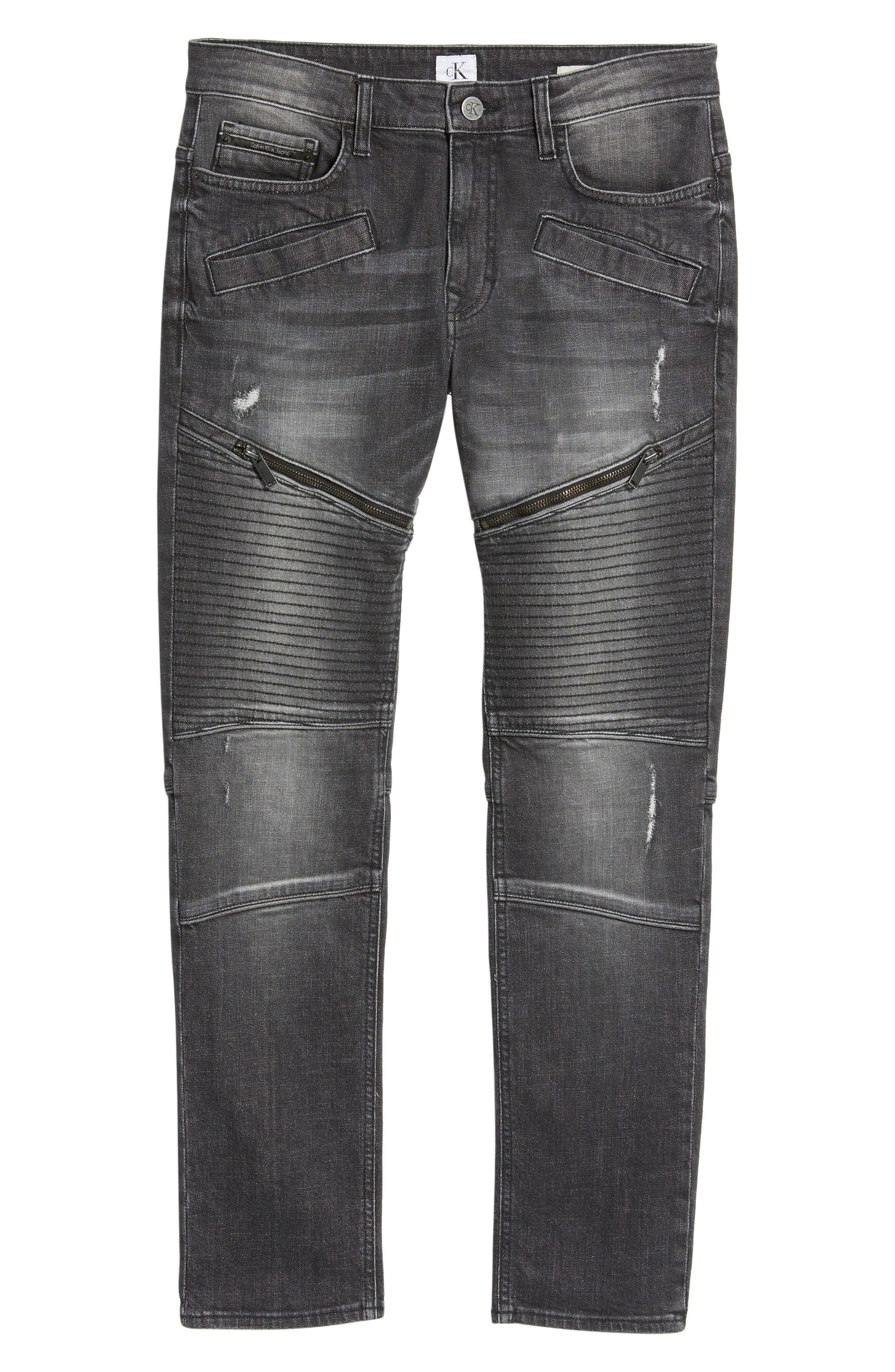 Biker Denim Jeans,                             Alternate thumbnail 6, color,                             Black