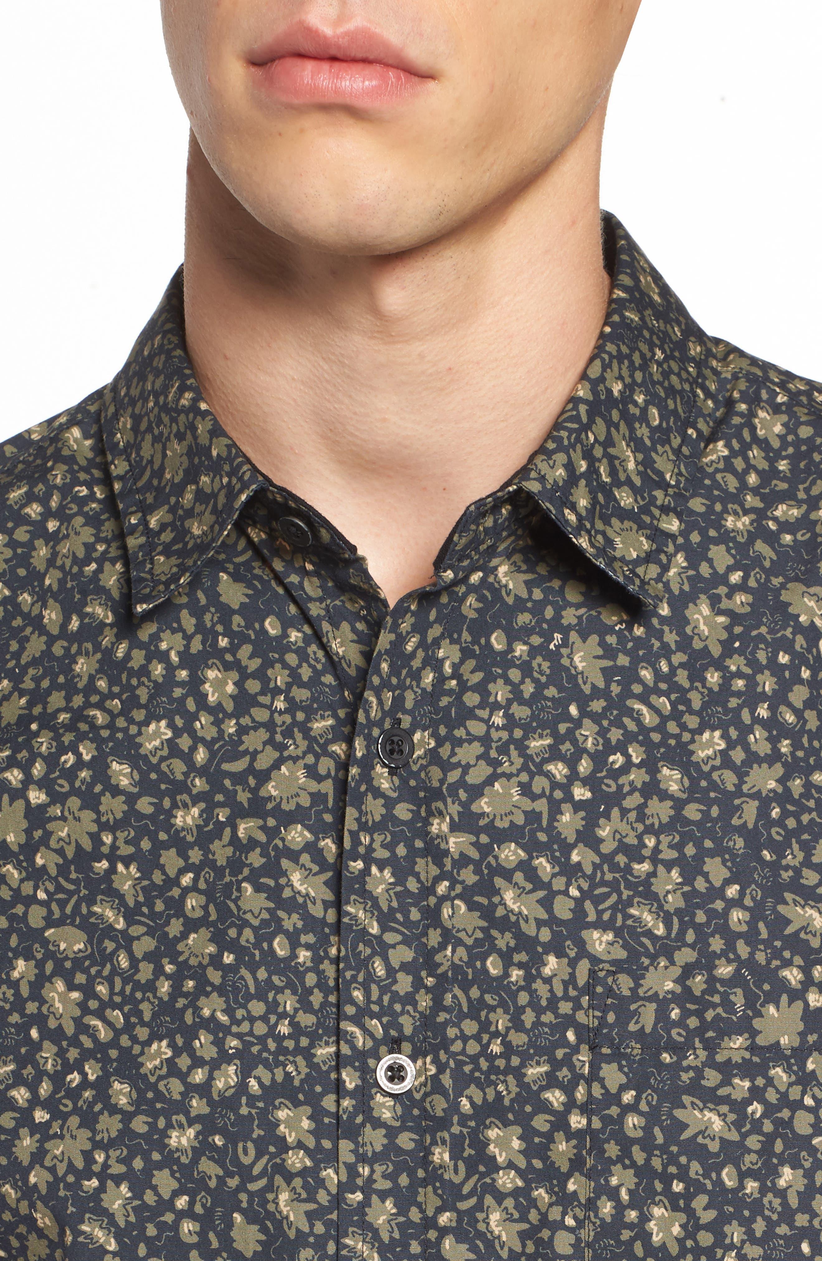 Nash Slim Fit Print Sport Shirt,                             Alternate thumbnail 4, color,                             Floral Camo Black/ Ivy
