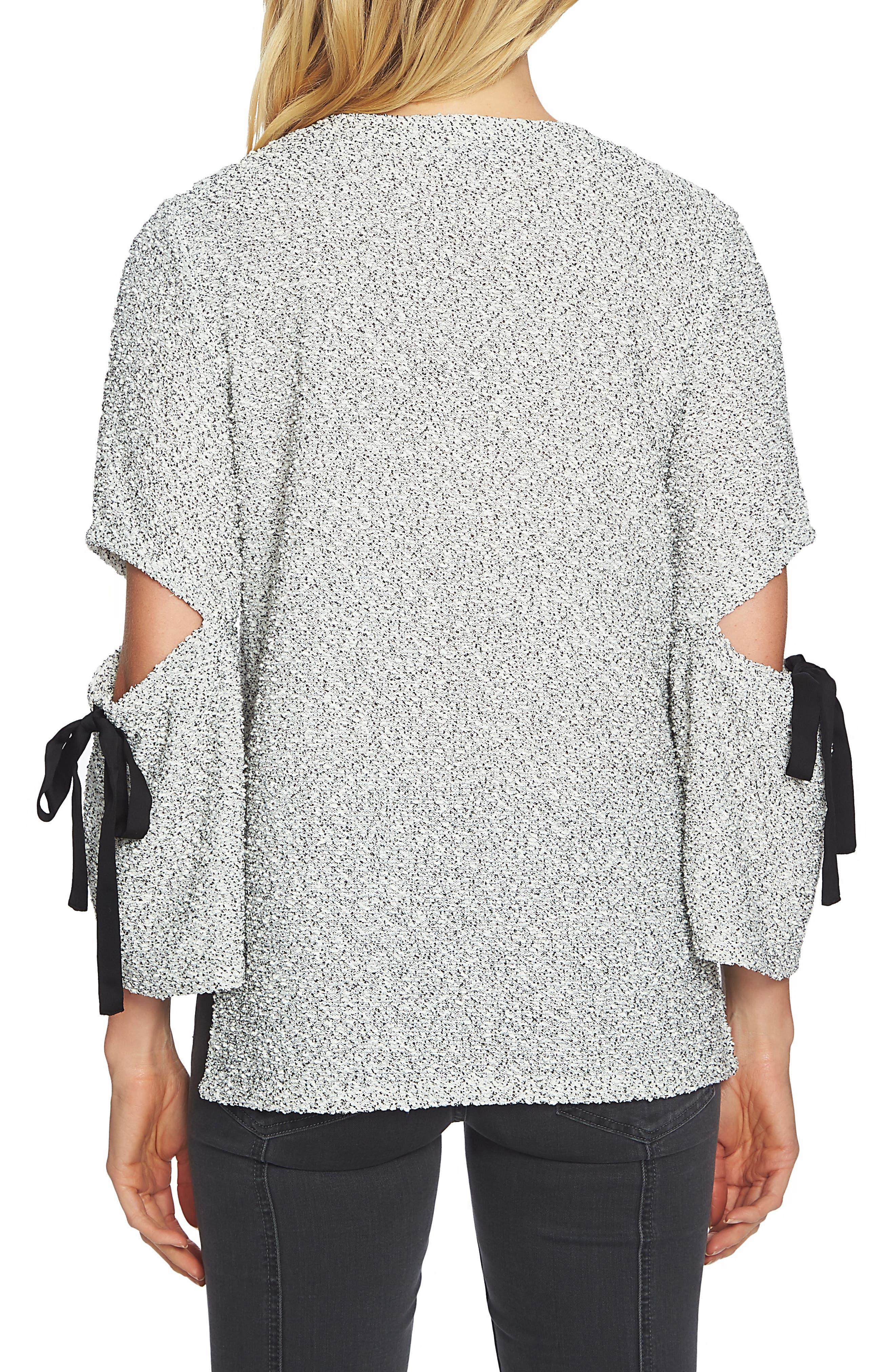 Cutout Tie Sleeve Sweater,                             Alternate thumbnail 2, color,                             125-Light Cream
