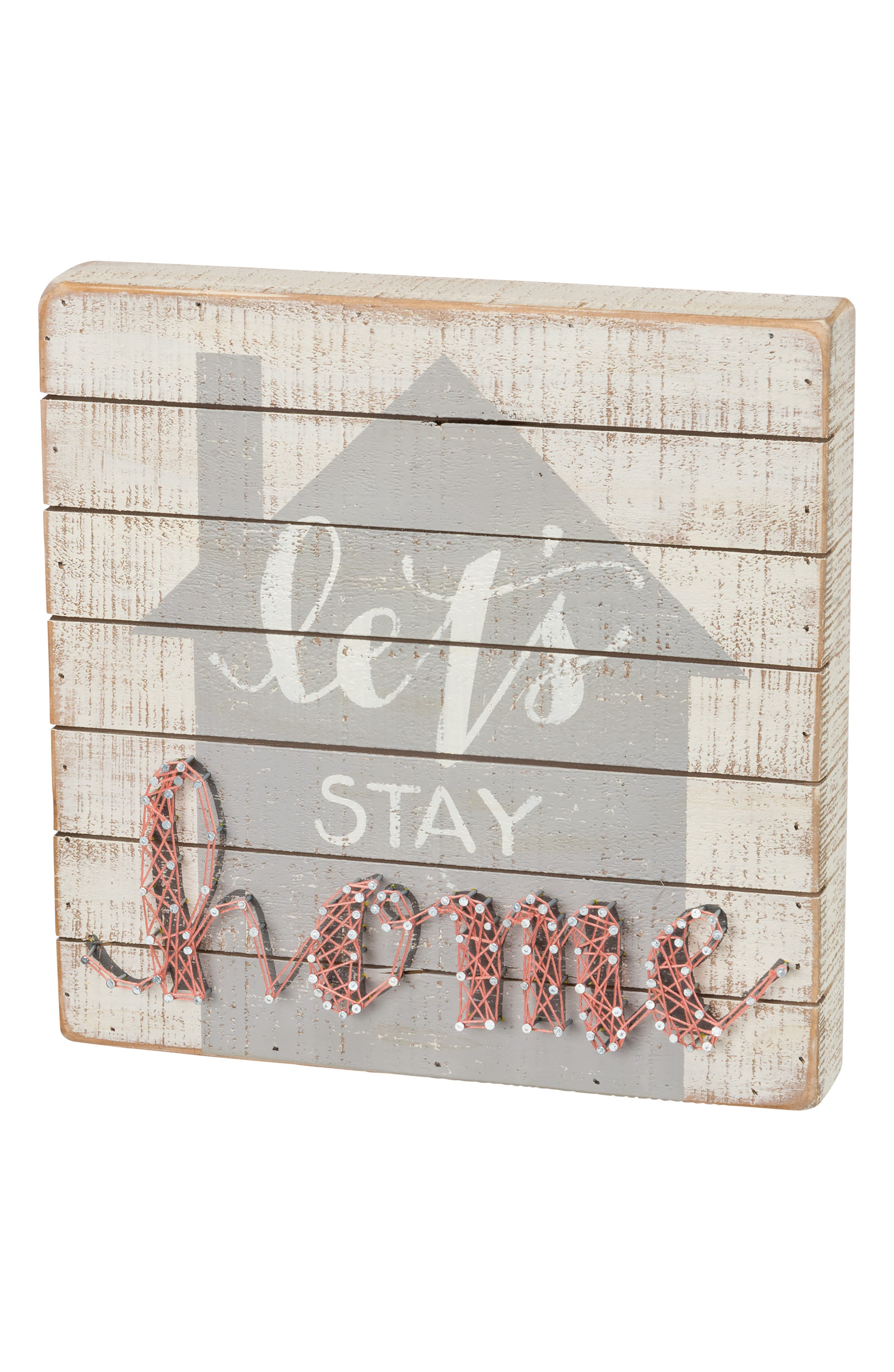 Let's Stay Home String Art Box Sign,                             Main thumbnail 1, color,                             Ivory