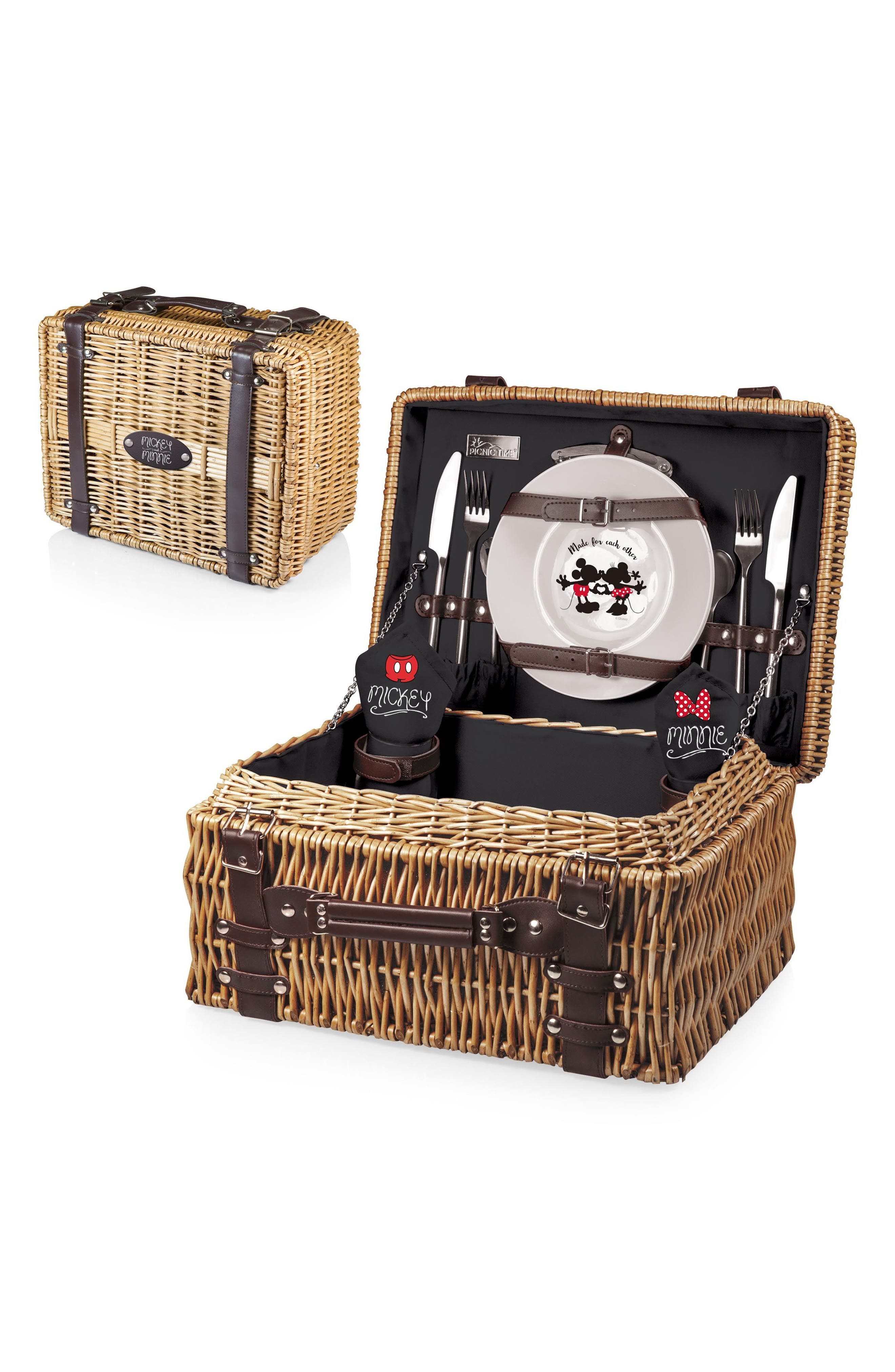 Disney - Mickey & Minnie Mouse Champion Wicker Picnic Basket,                             Alternate thumbnail 2, color,                             Black