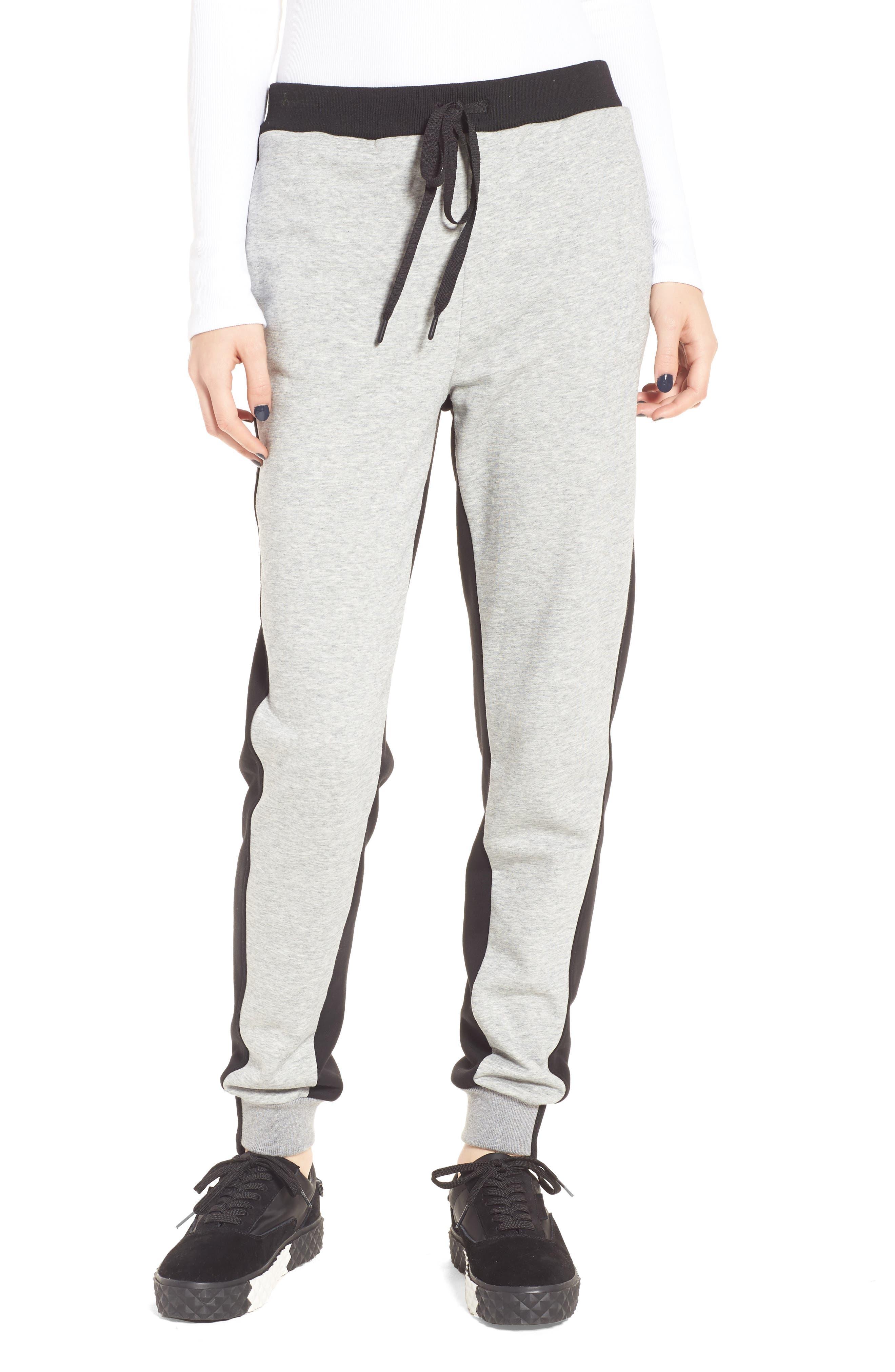 Paneled Sweatpants,                             Main thumbnail 1, color,                             Black/ Med. Heather Grey