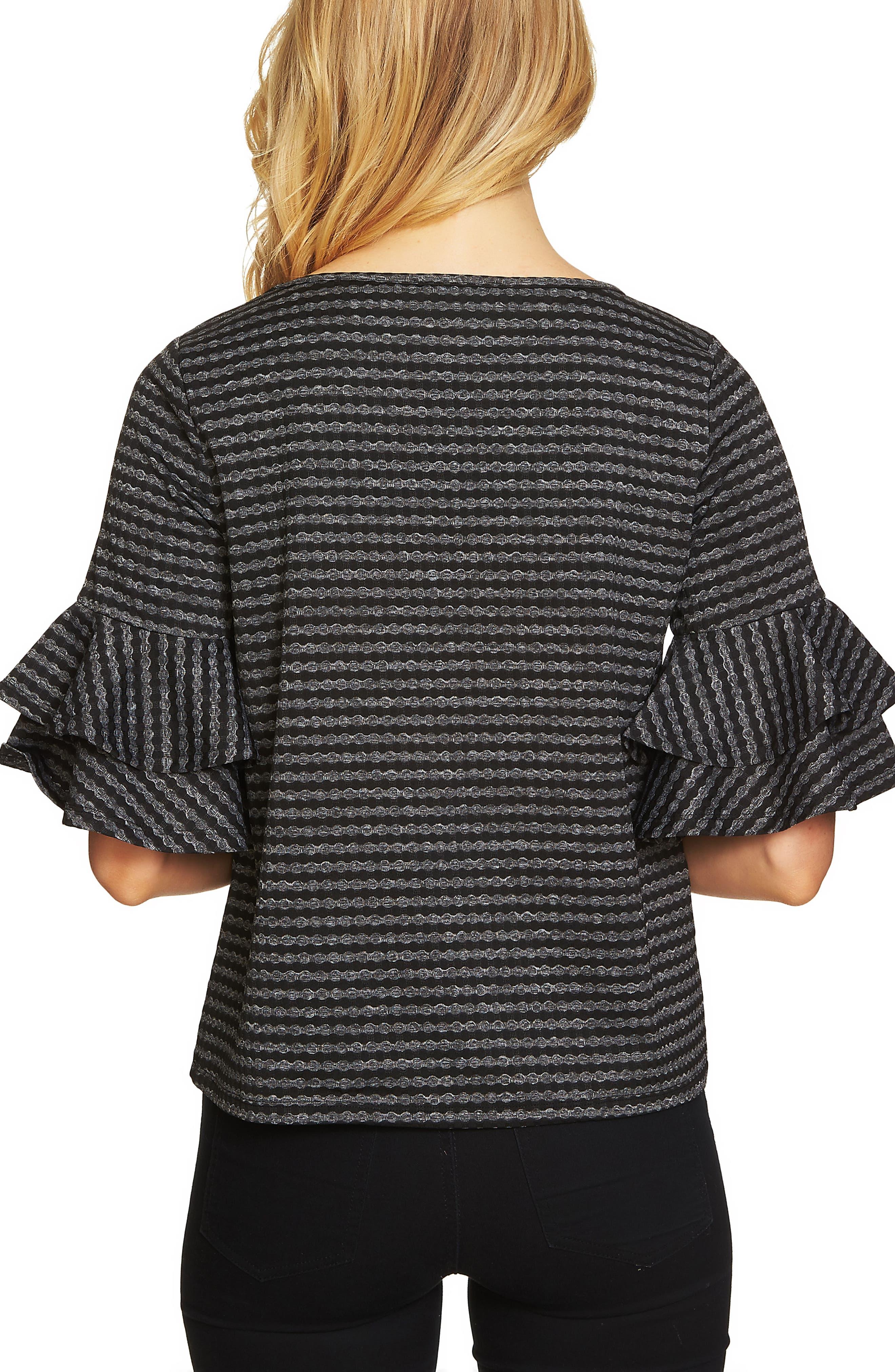 Ruffle Sleeve Knit Top,                             Alternate thumbnail 2, color,                             Rich Black