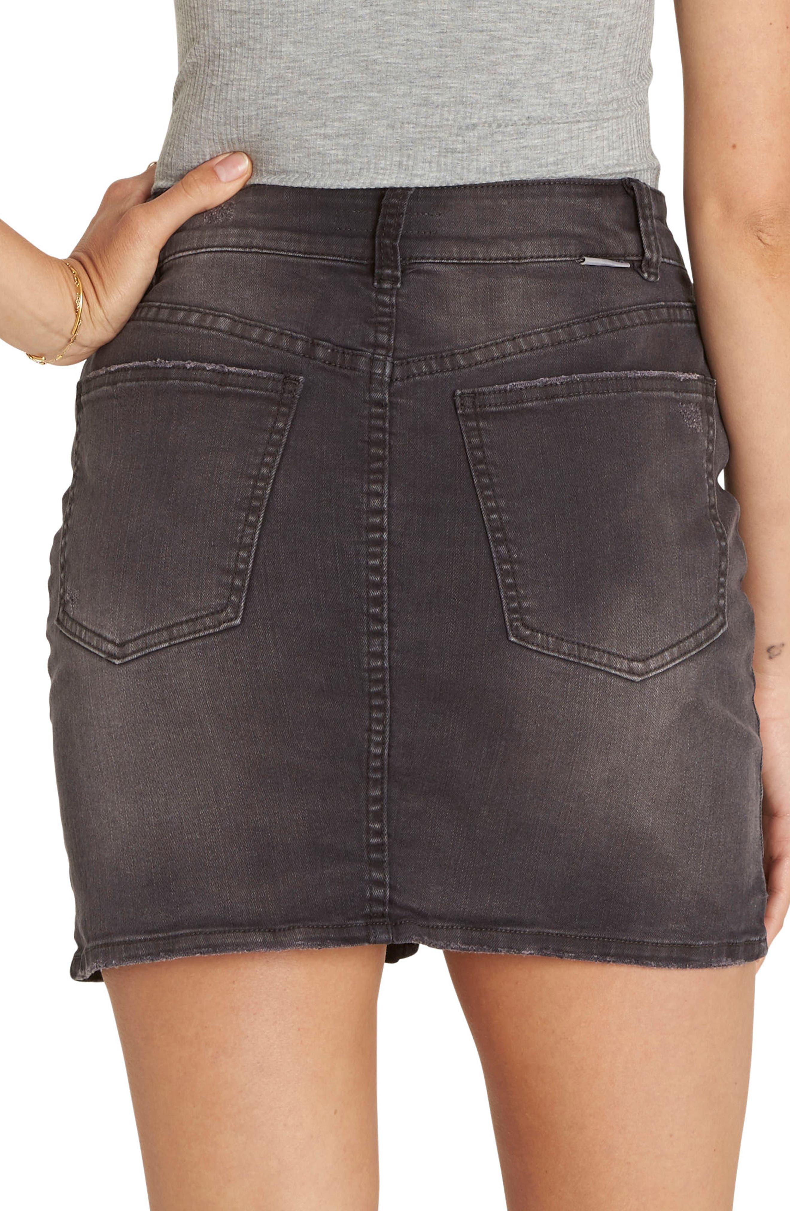 Alternate Image 2  - Billabong Black Magic Denim Skirt (Black Pebble)