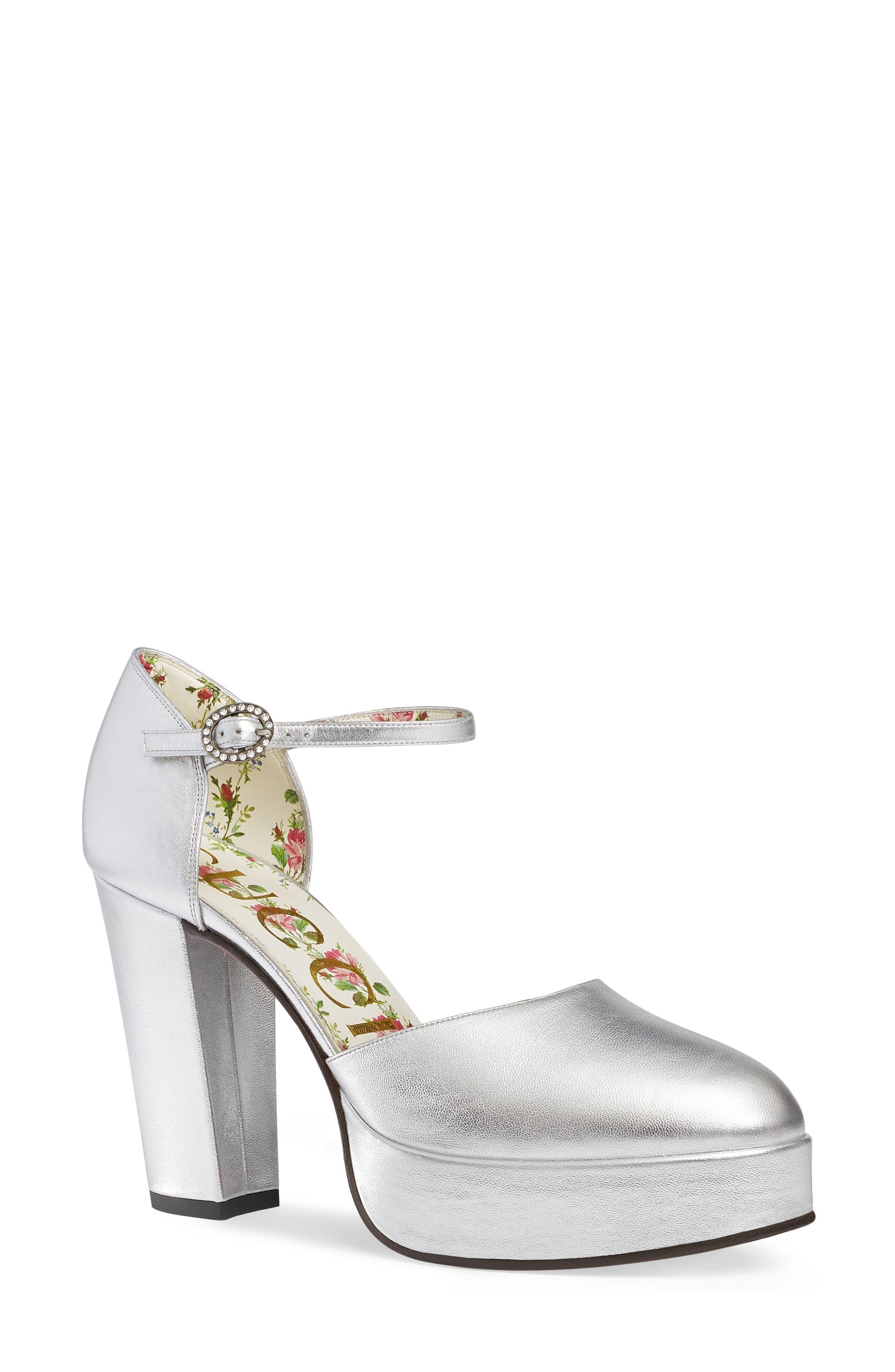 Alternate Image 1 Selected - Gucci Agon Ankle Strap Platform Pump (Women)