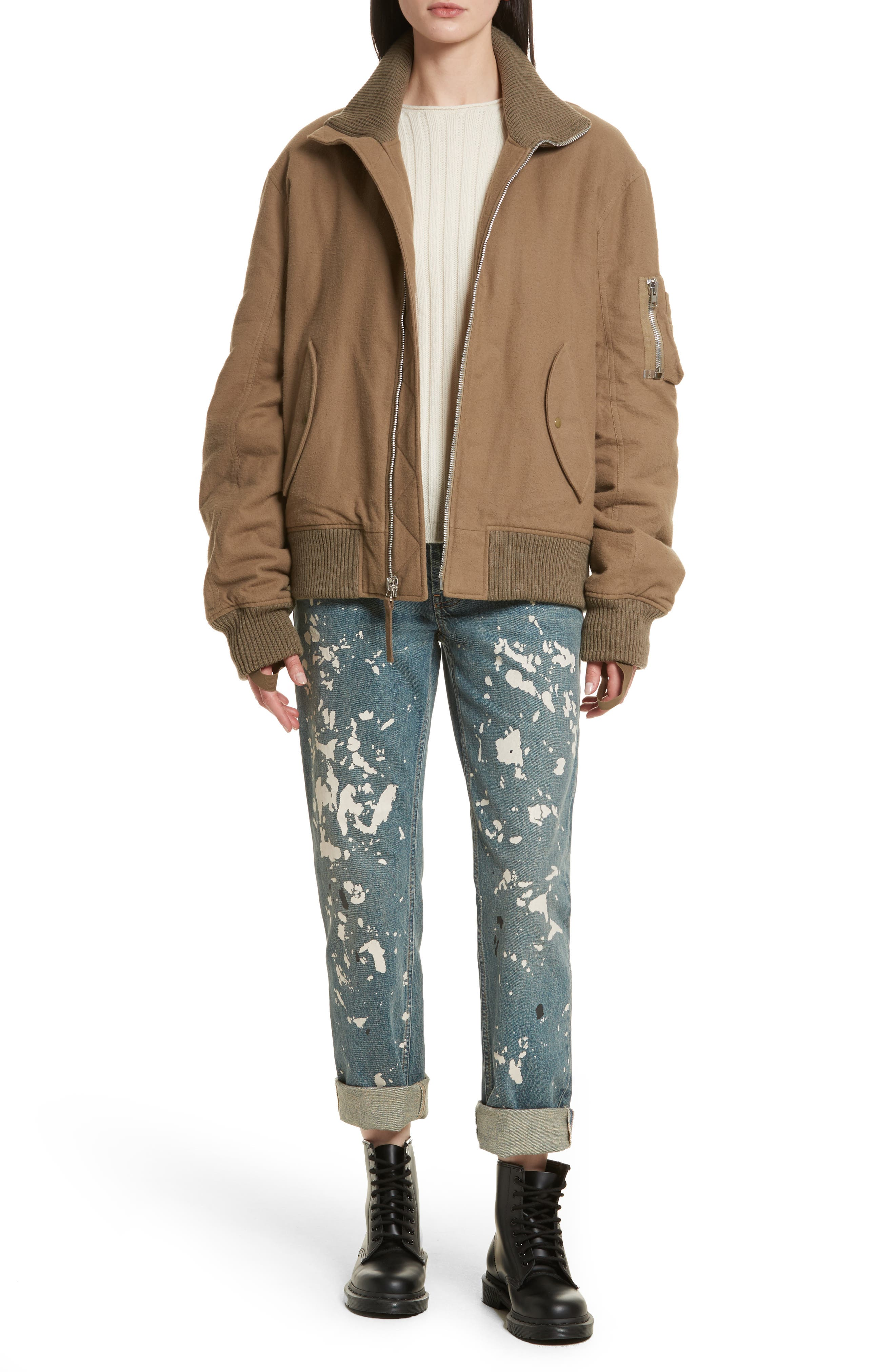 Re-Edition High Collar Bomber Jacket,                             Alternate thumbnail 2, color,                             Army Green