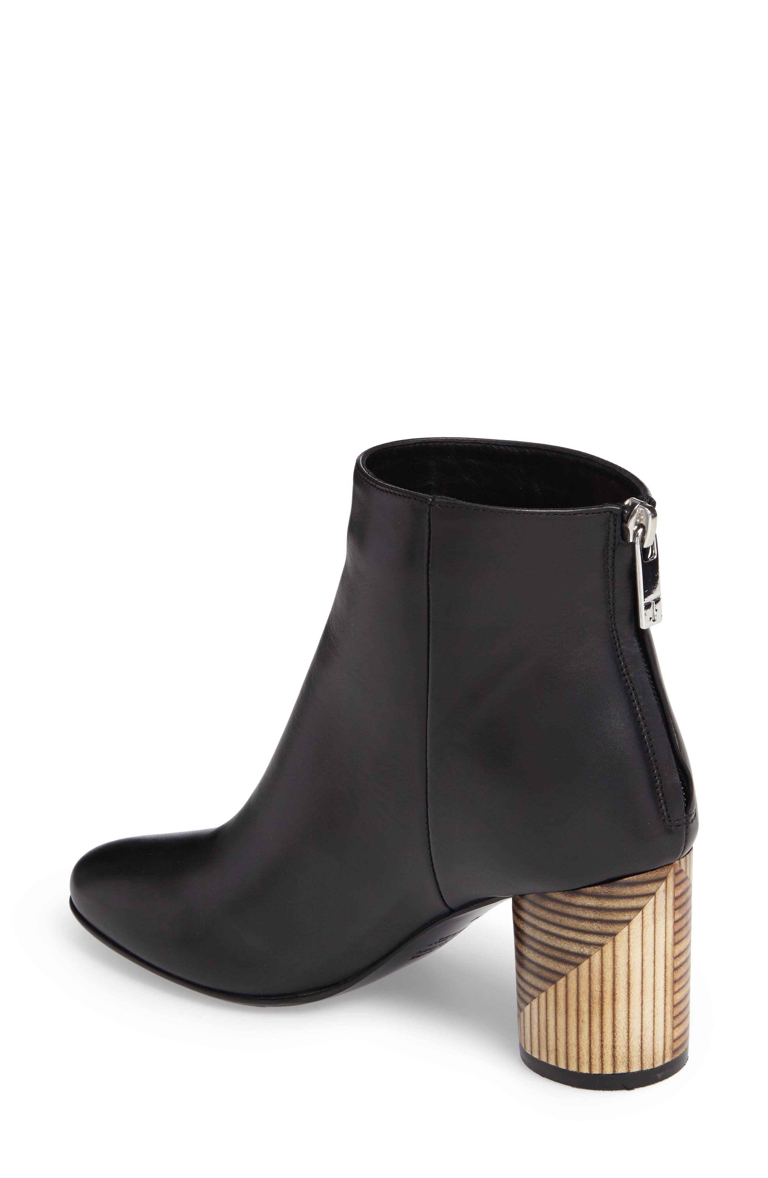 Francesca Block Heel Boot,                             Alternate thumbnail 2, color,                             Black Leather