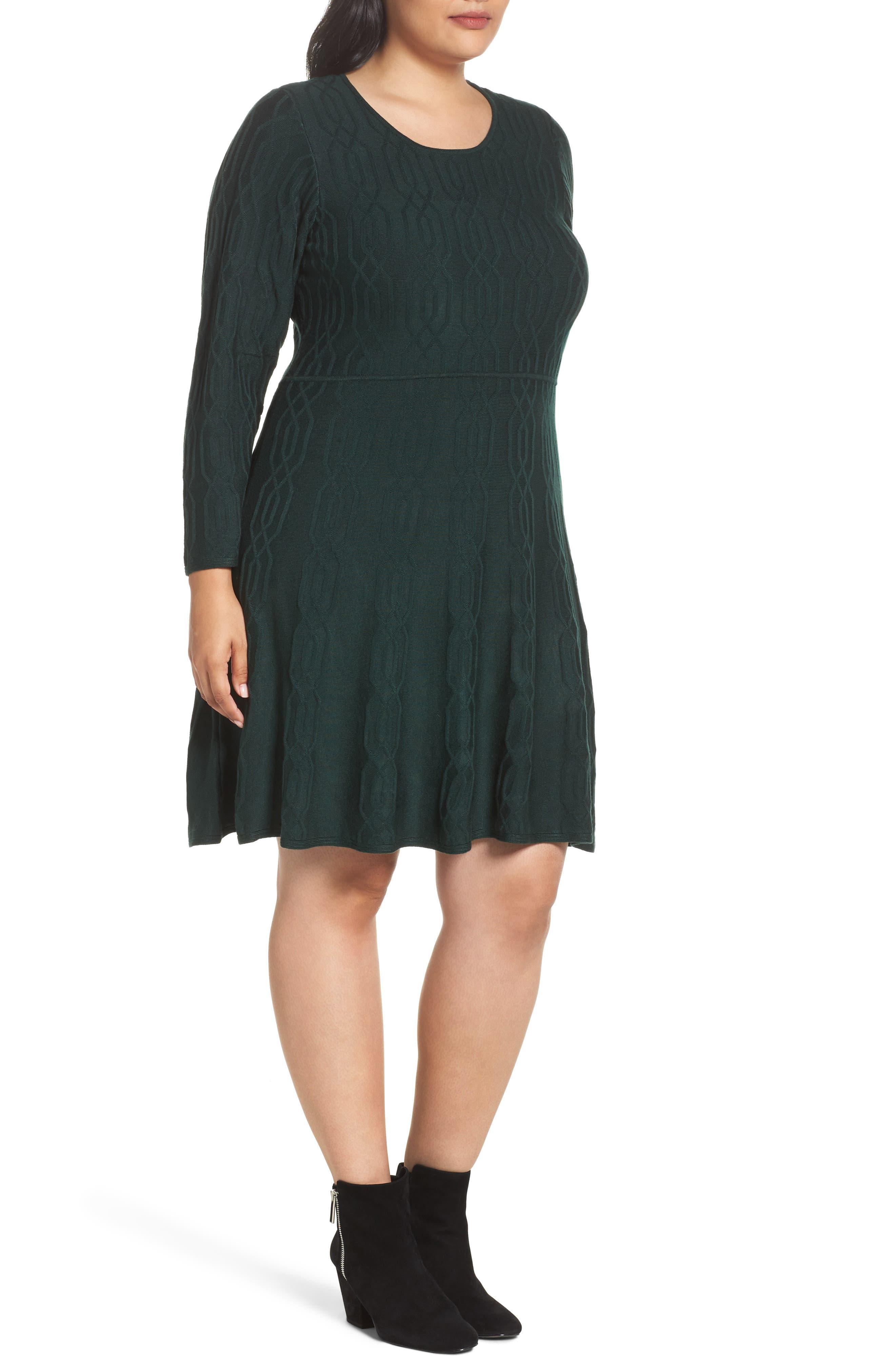 Jacquard Knit Fit & Flare Dress,                             Alternate thumbnail 3, color,                             Green