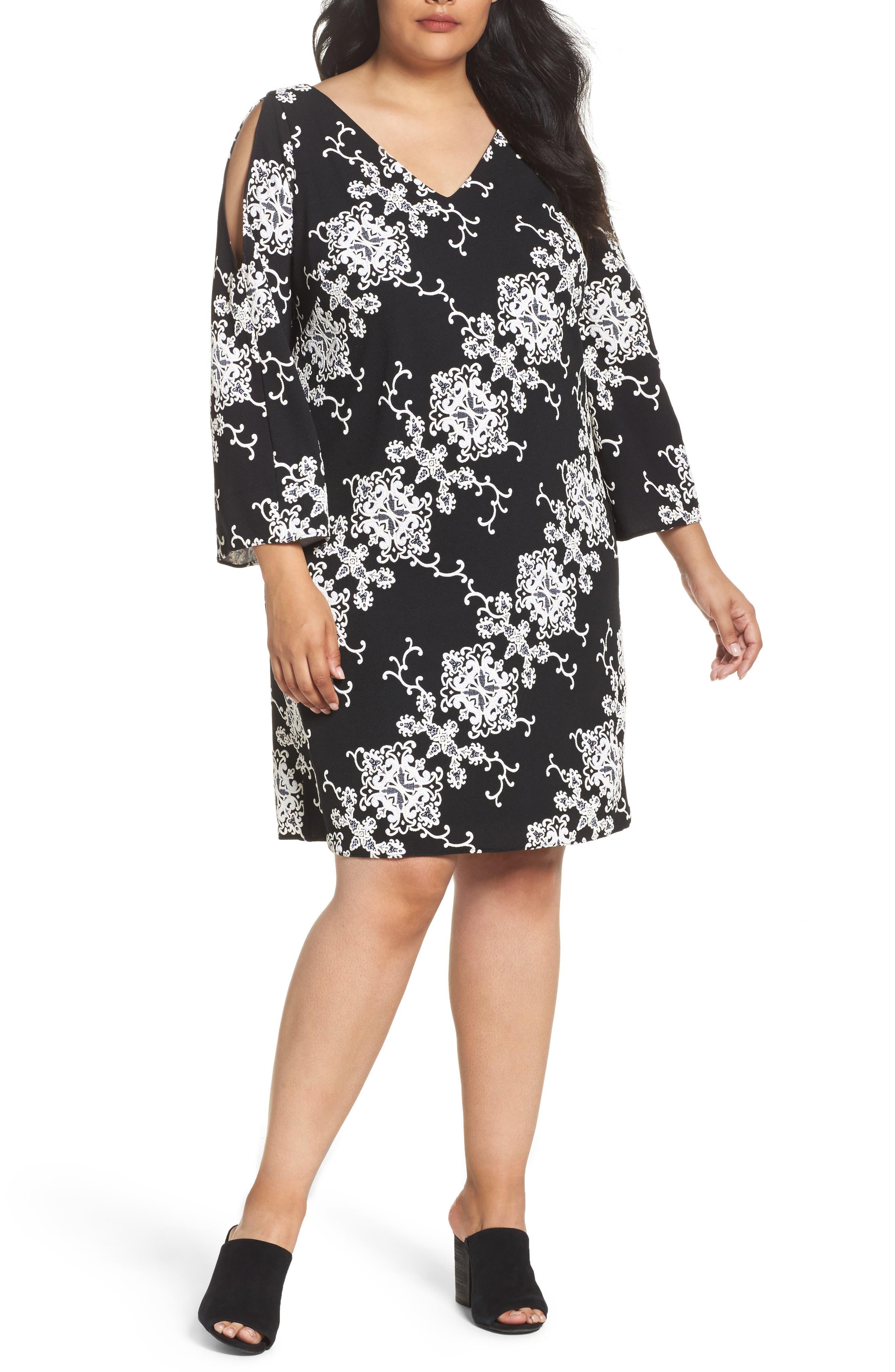 Split Sleeve Shift Dress,                         Main,                         color, Black/ Ivory