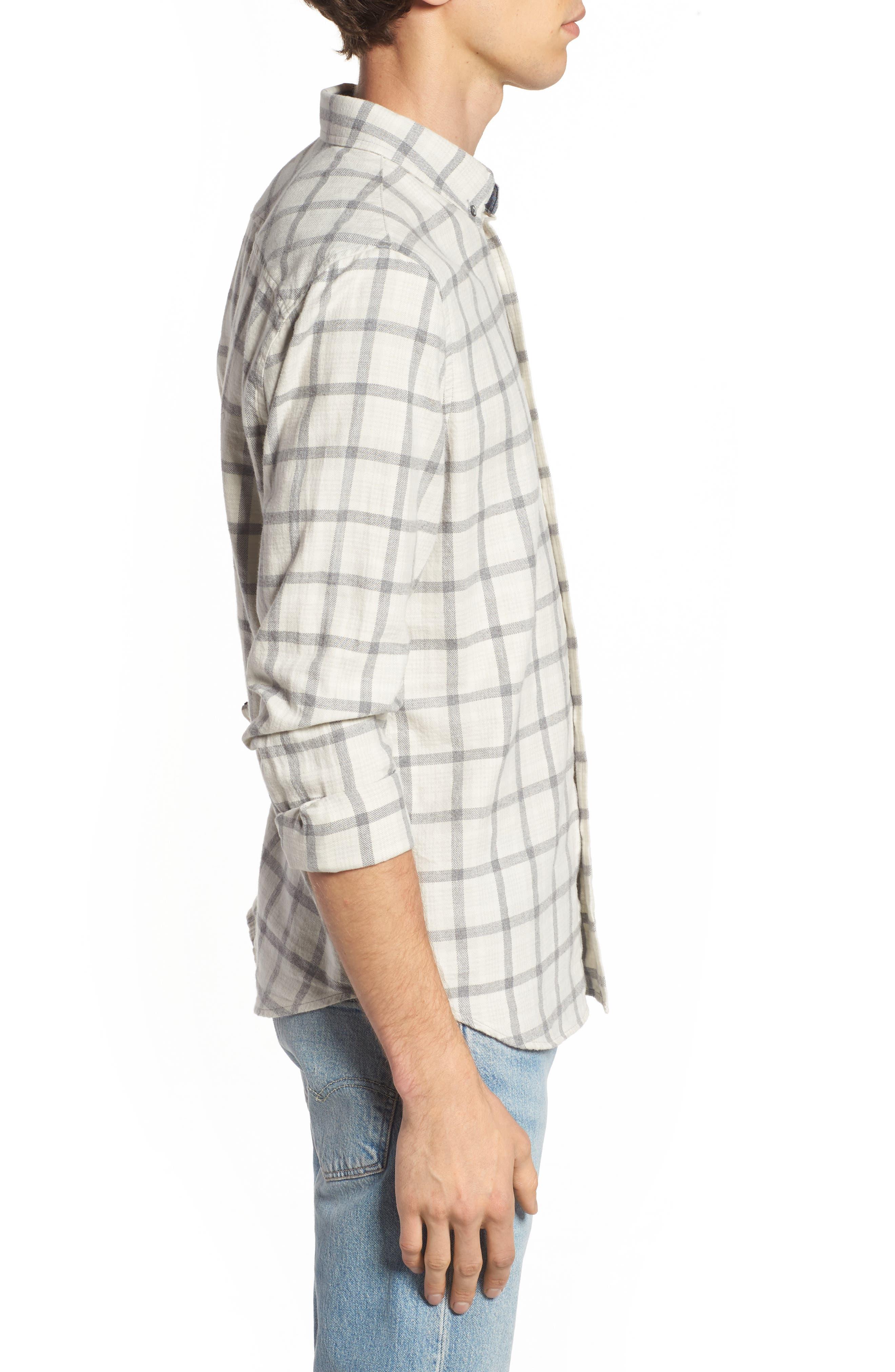 Grady Slim Fit Plaid Sport Shirt,                             Alternate thumbnail 3, color,                             Moon Glade/ Heather Grey