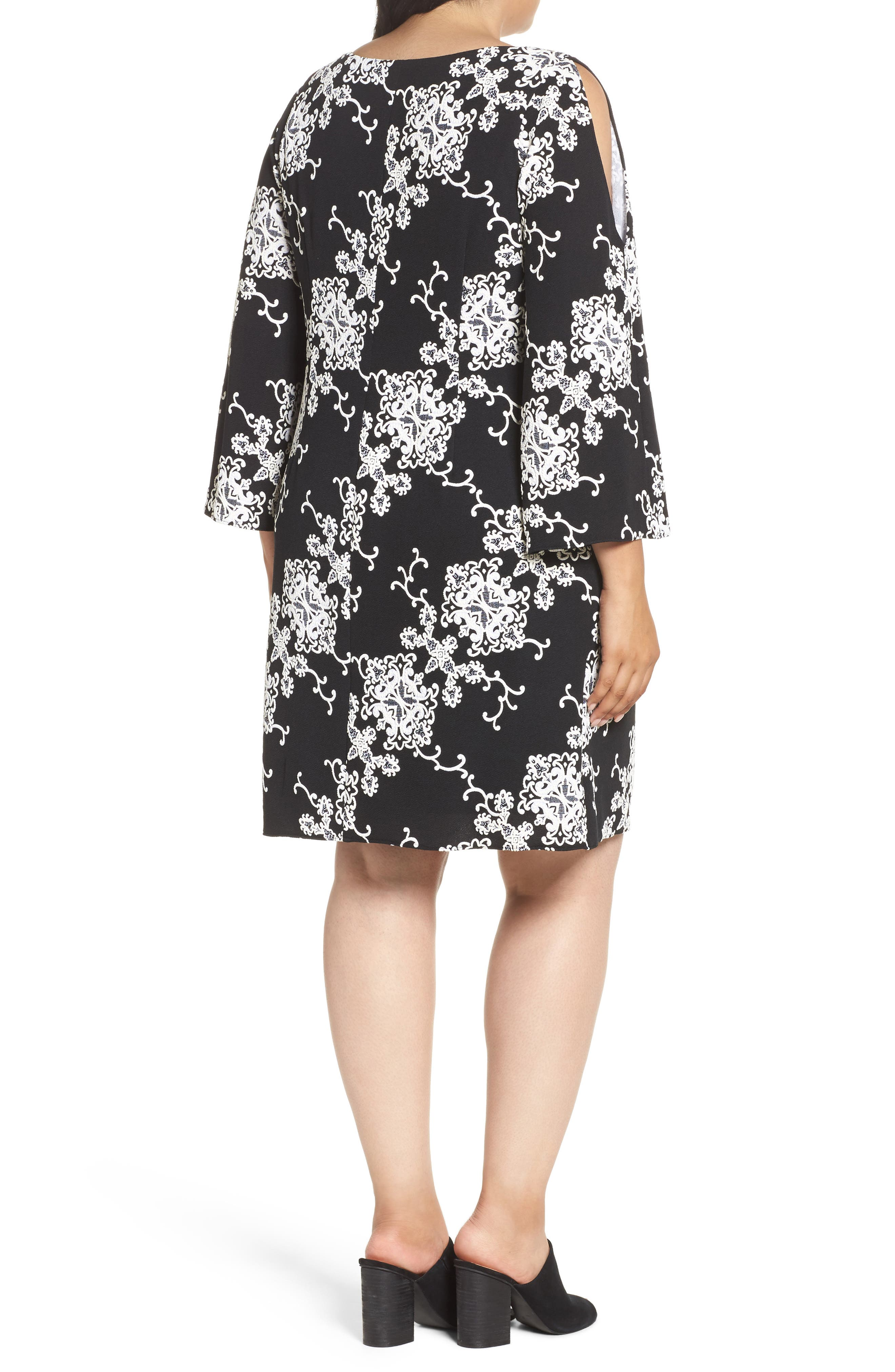Split Sleeve Shift Dress,                             Alternate thumbnail 2, color,                             Black/ Ivory