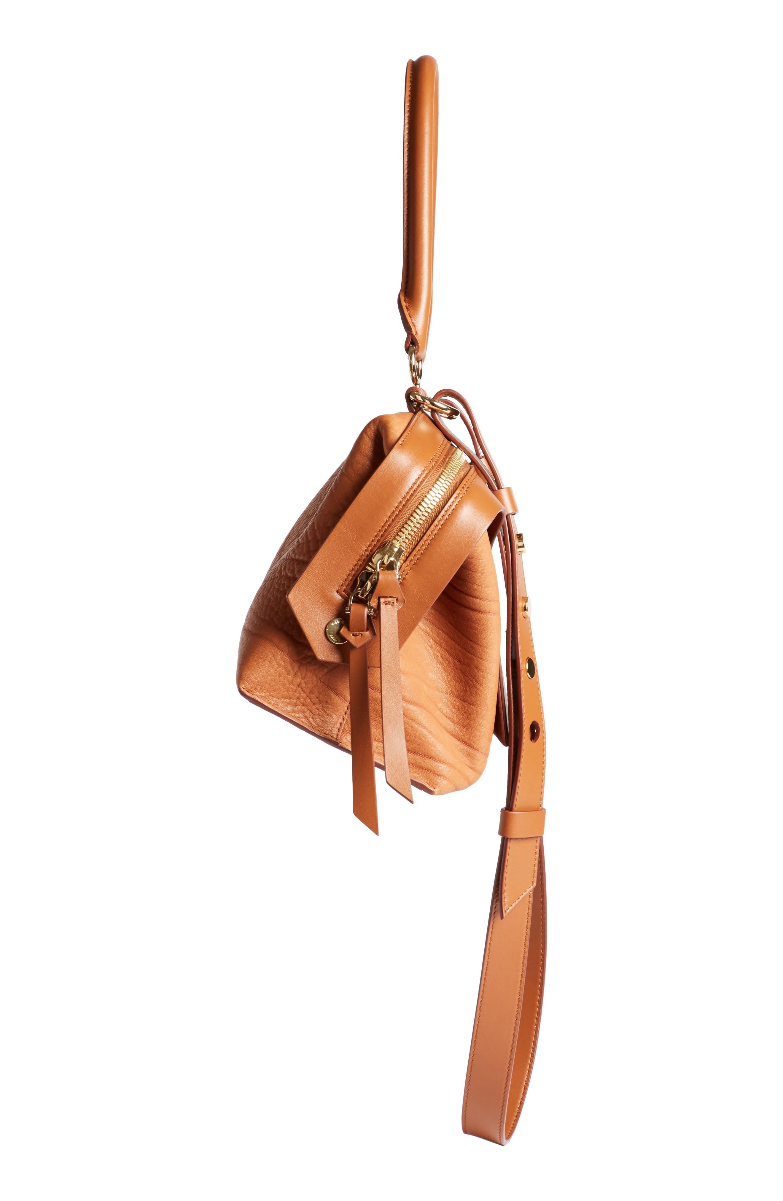 Small Sway Leather Satchel,                             Alternate thumbnail 3, color,                             Cognac
