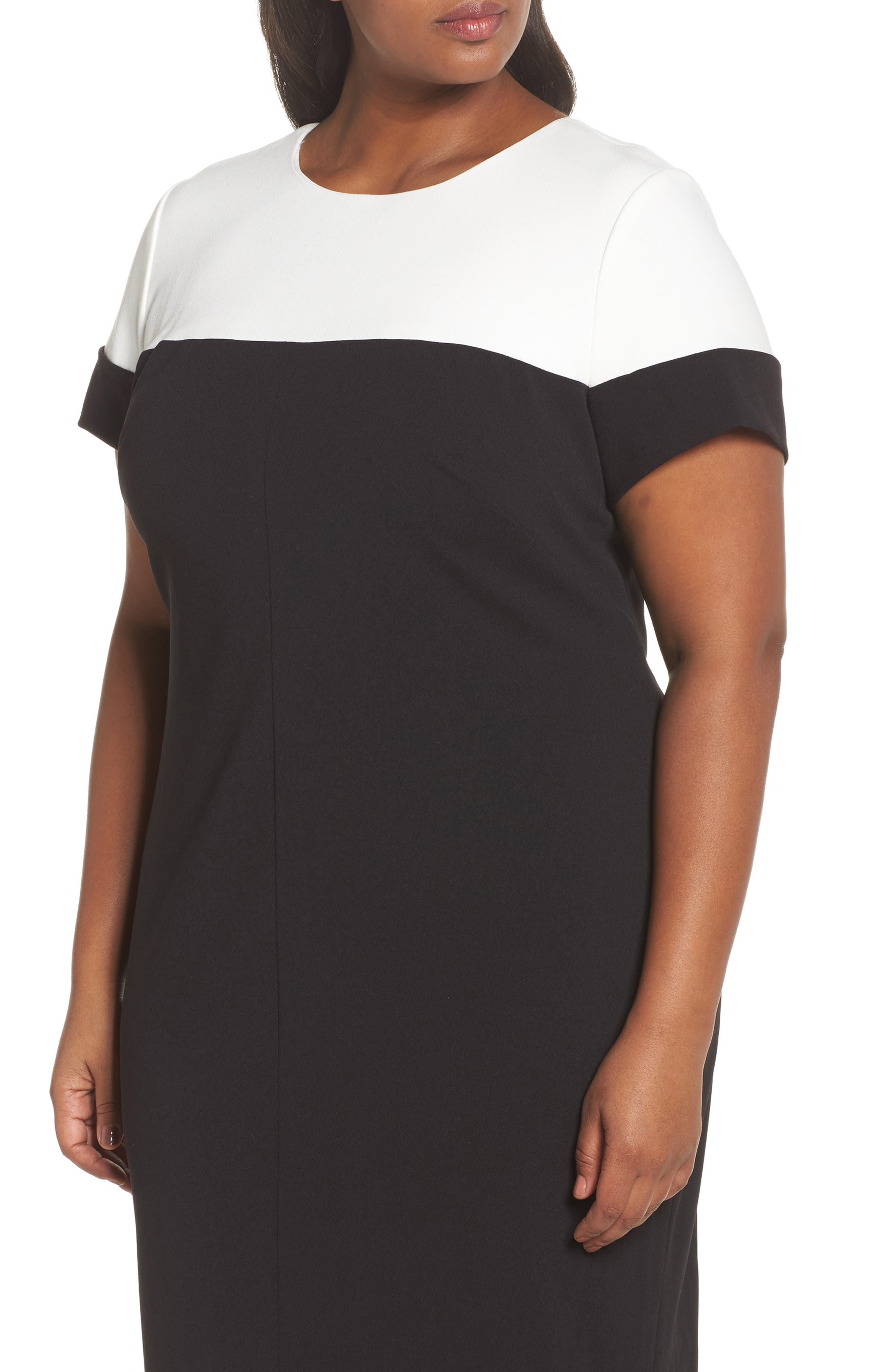 Stretch Crepe Sheath Dress,                             Alternate thumbnail 4, color,                             Black/ Ivory