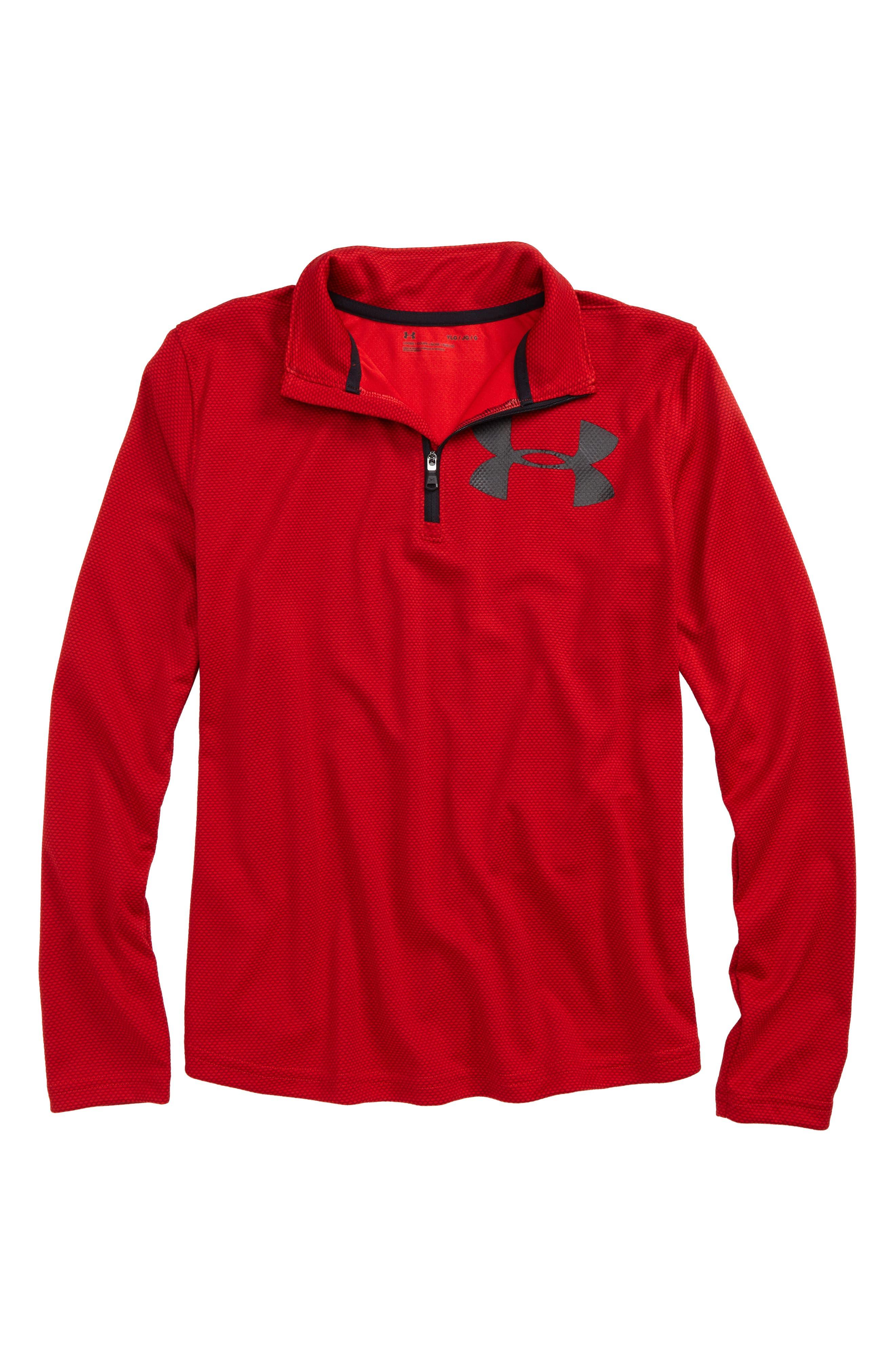 Textured Quarter Zip Top,                         Main,                         color, Red/ Black