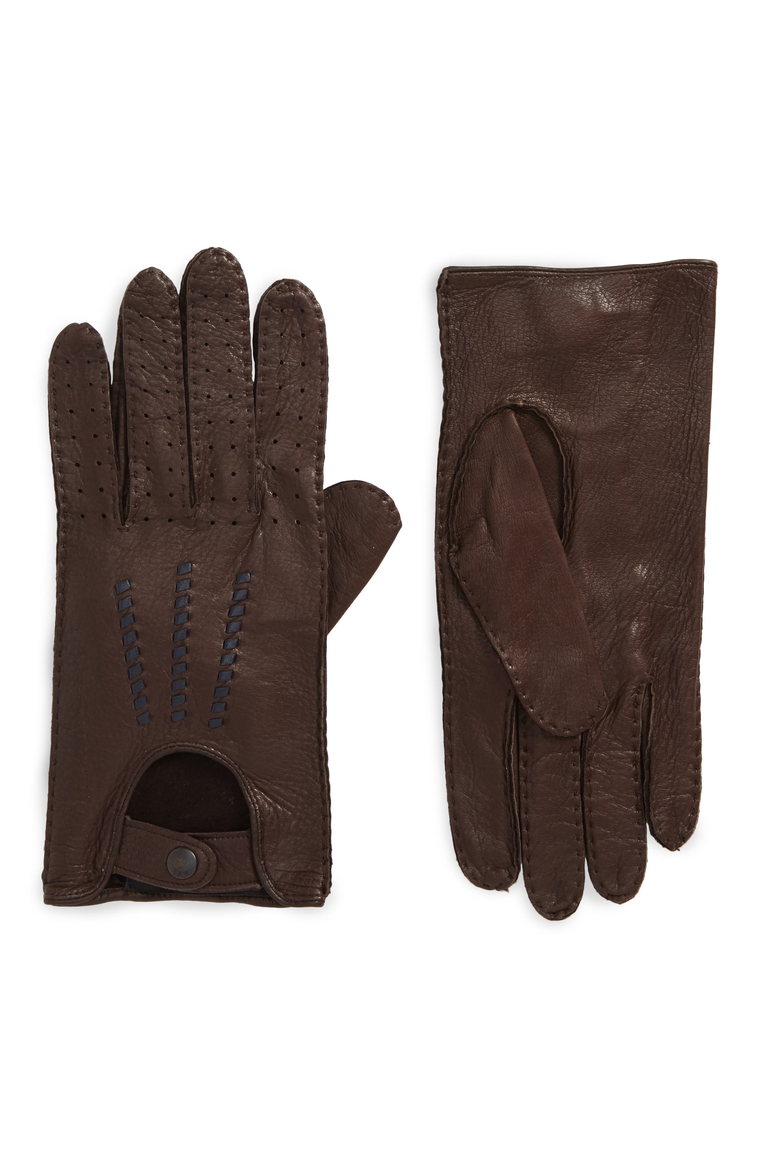 Deerskin Driving Gloves,                             Main thumbnail 1, color,                             Chocolate