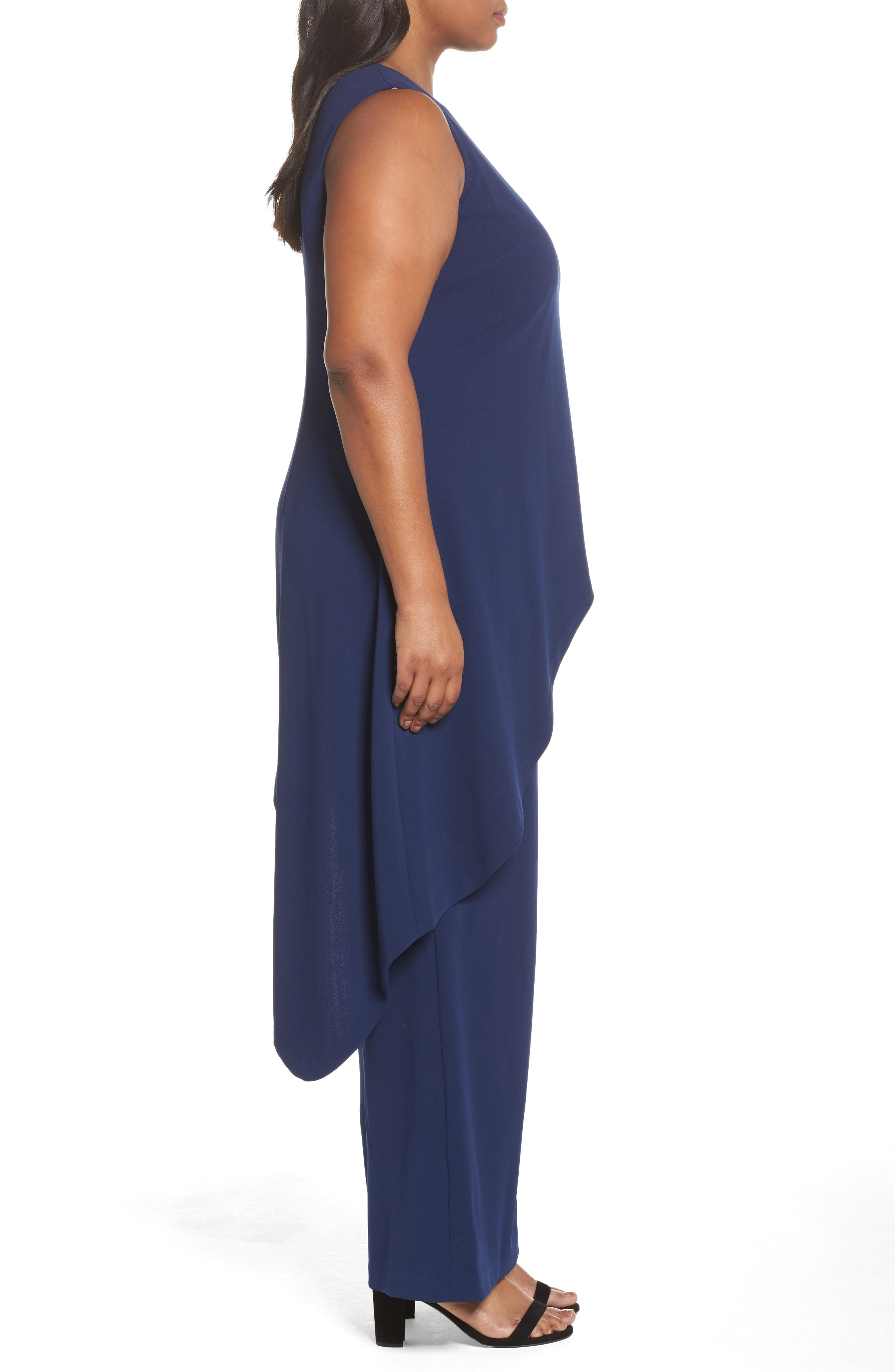 Knit Crepe Asymmetrical Jumpsuit,                             Alternate thumbnail 3, color,                             Blue Violet