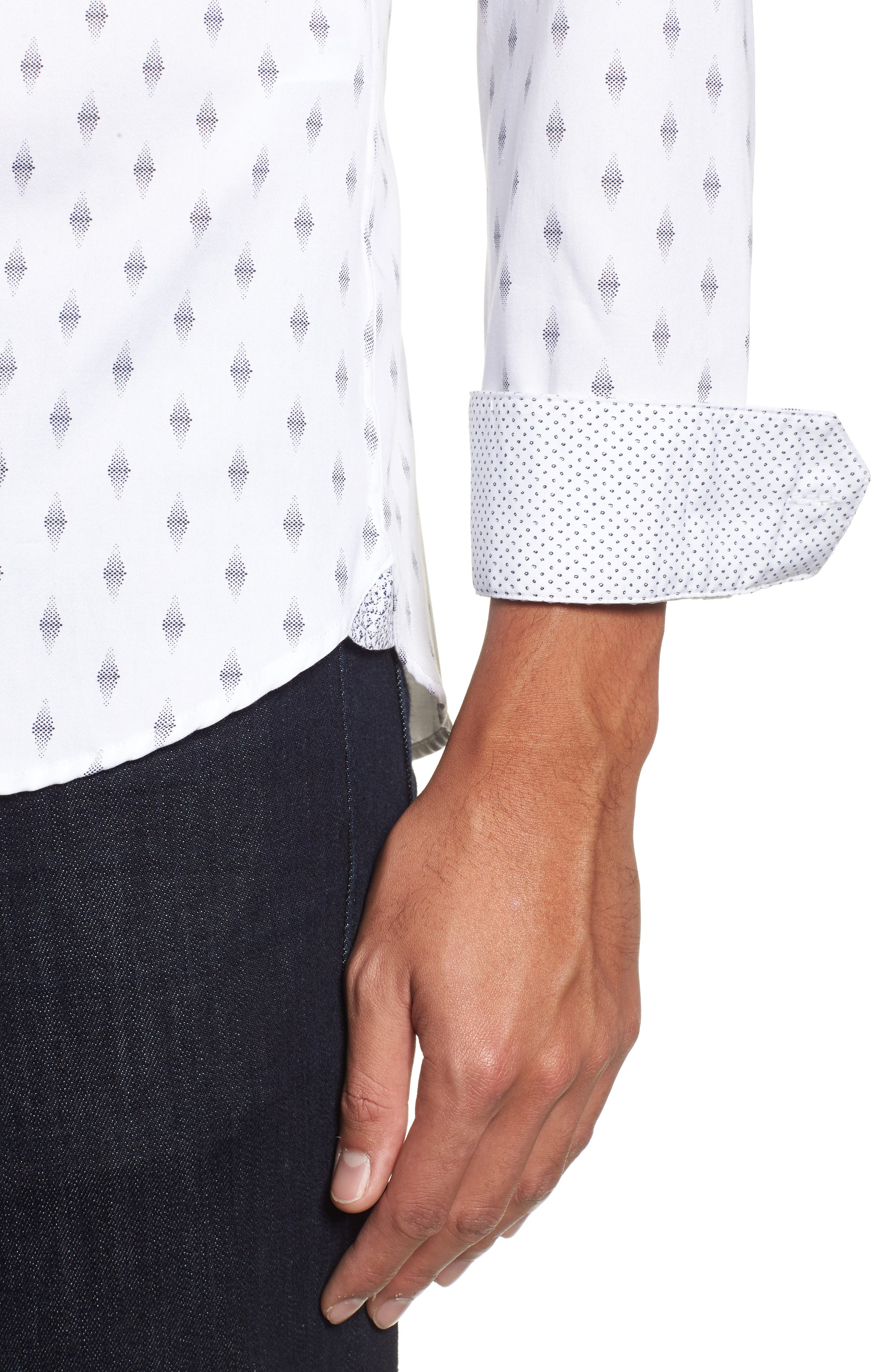 Monico Slim Fit Dot Diamond Sport Shirt,                             Alternate thumbnail 2, color,                             White