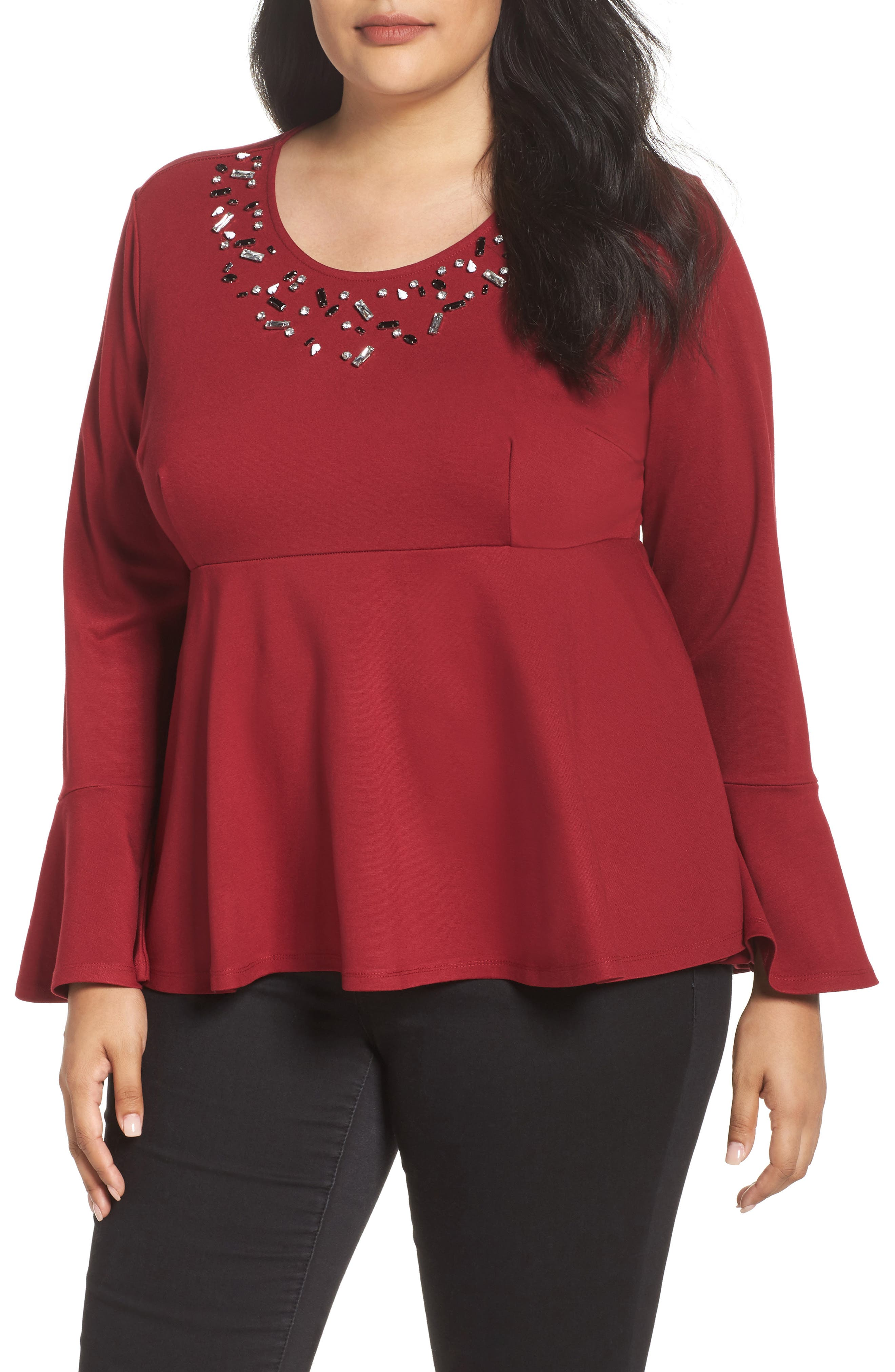 Main Image - Melissa McCarthy Seven7 Bell Sleeve Peplum Shirt (Plus Size)