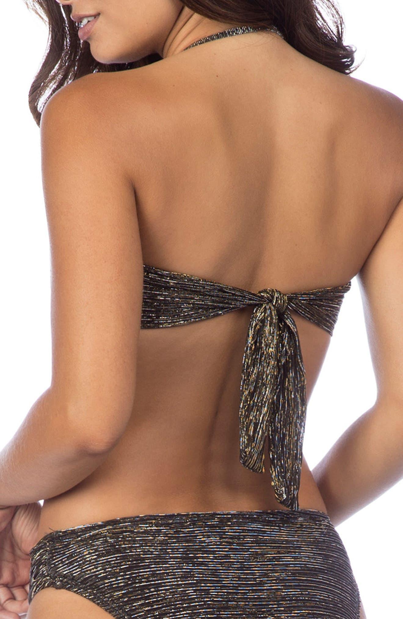 Bling It On Bandeau Bikini Top,                             Alternate thumbnail 2, color,                             Gold