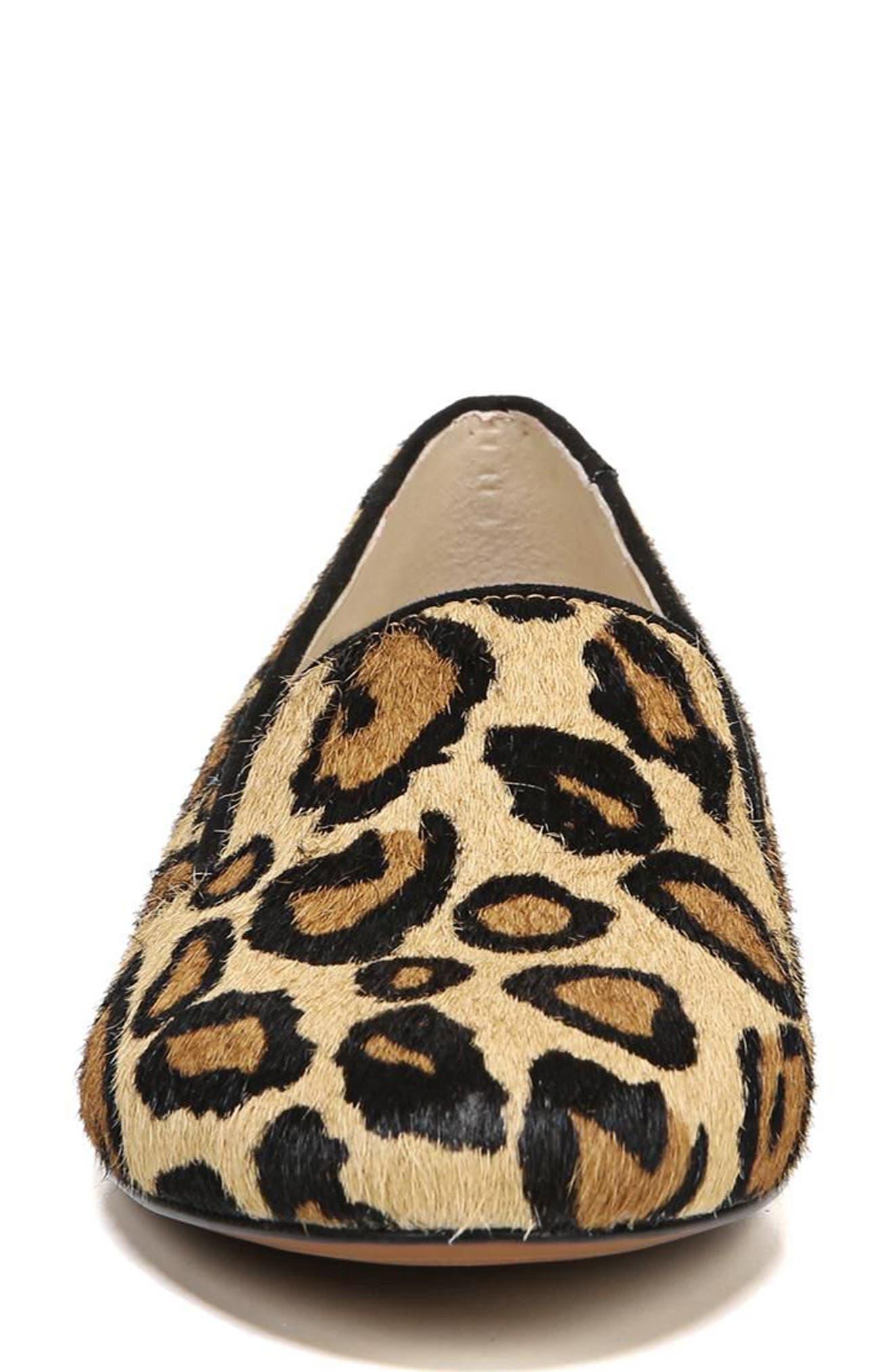 Jordy Genuine Calf Hair Flat,                             Alternate thumbnail 4, color,                             New Nude Leopard Brahma Hair