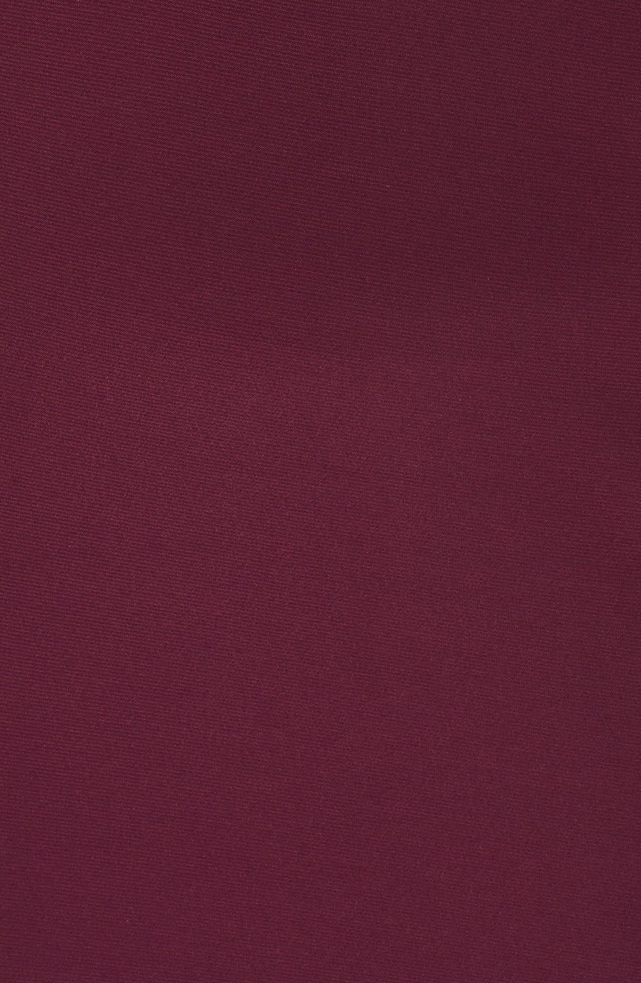 Lace Bodice Dress,                             Alternate thumbnail 5, color,                             Merlot/ Nude