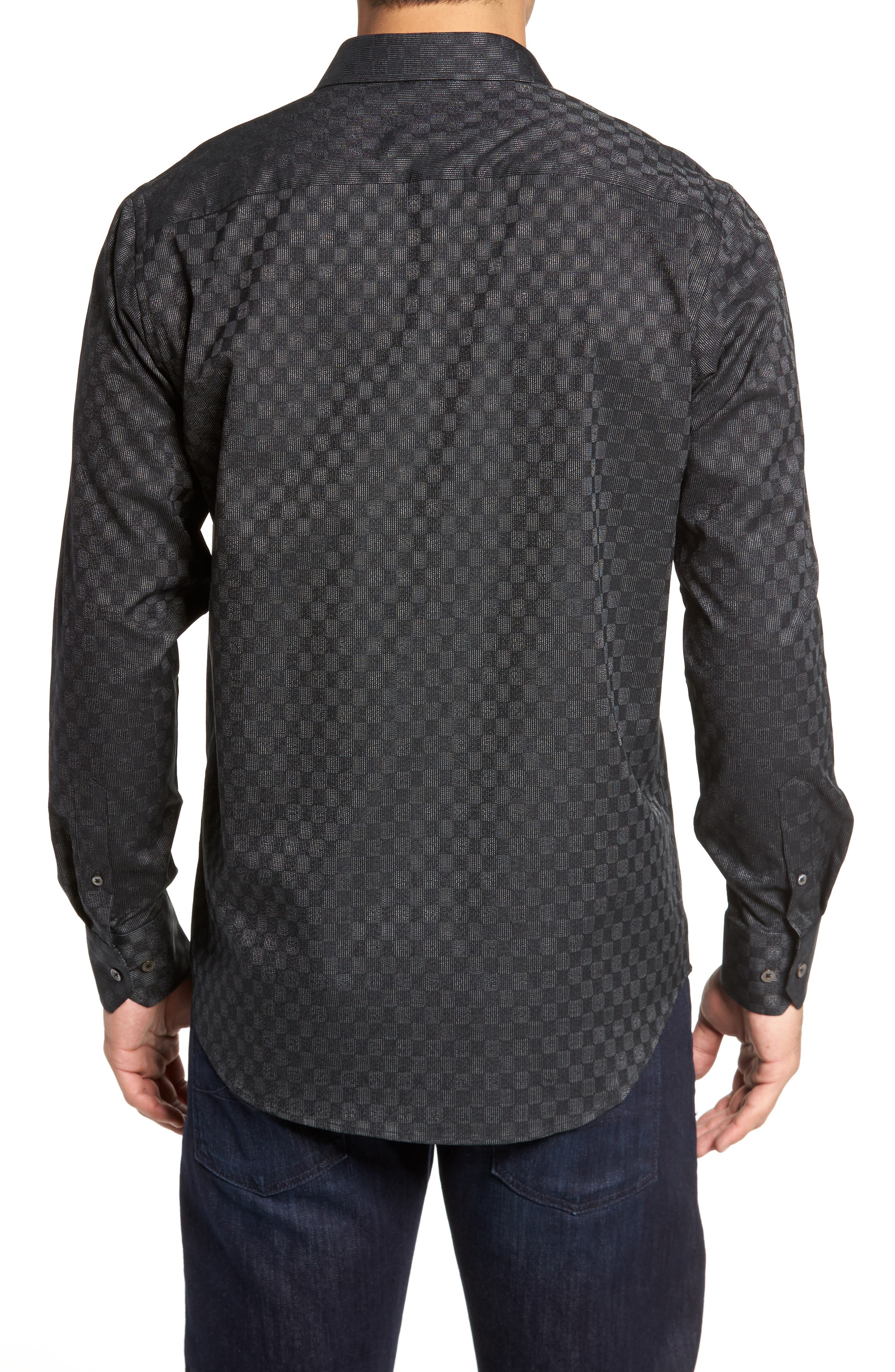 Classic Fit Abstract Dot Print Sport Shirt,                             Alternate thumbnail 2, color,                             Black