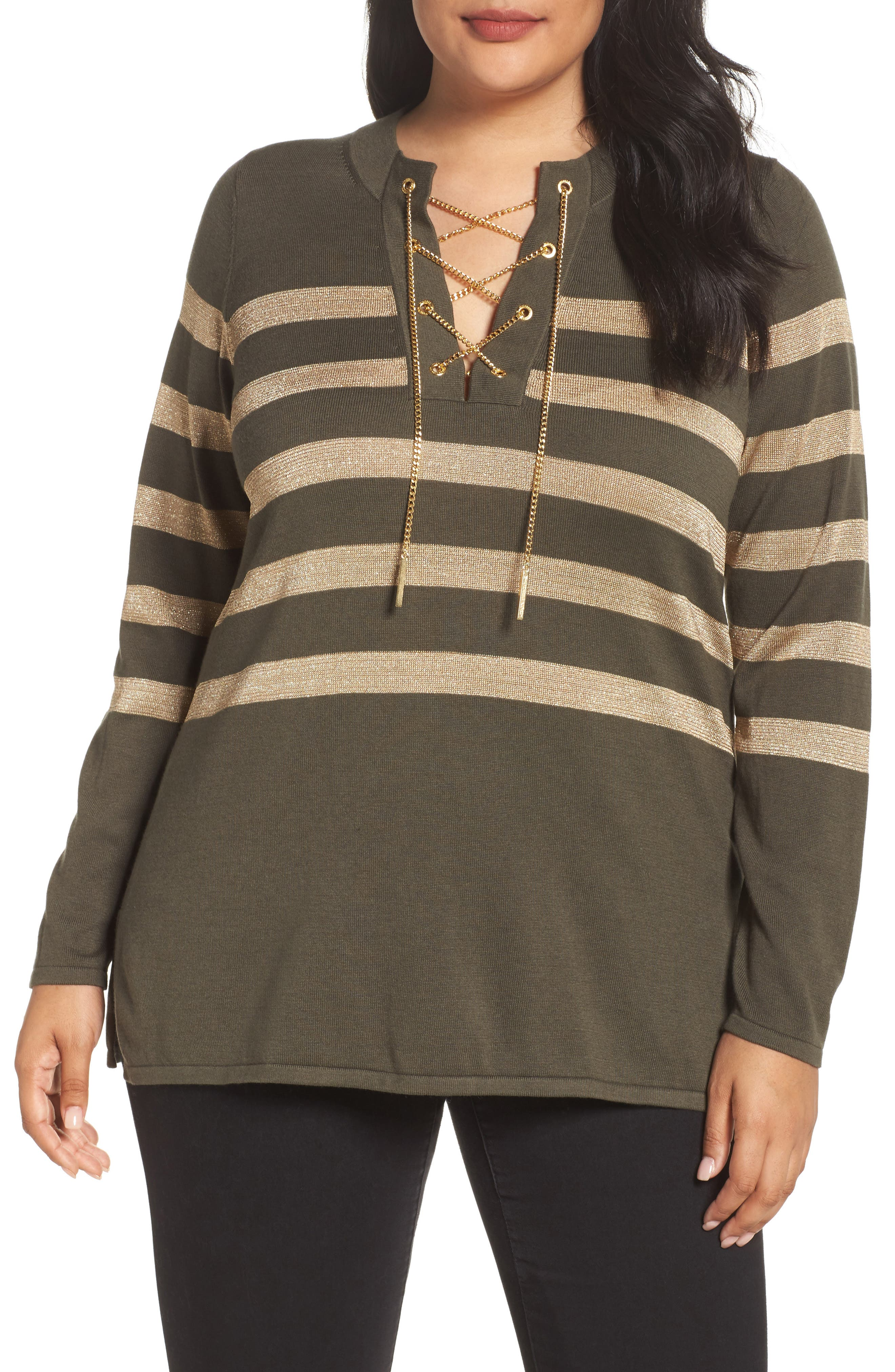 Chain Lace-Up Stripe Sweater,                         Main,                         color, Green