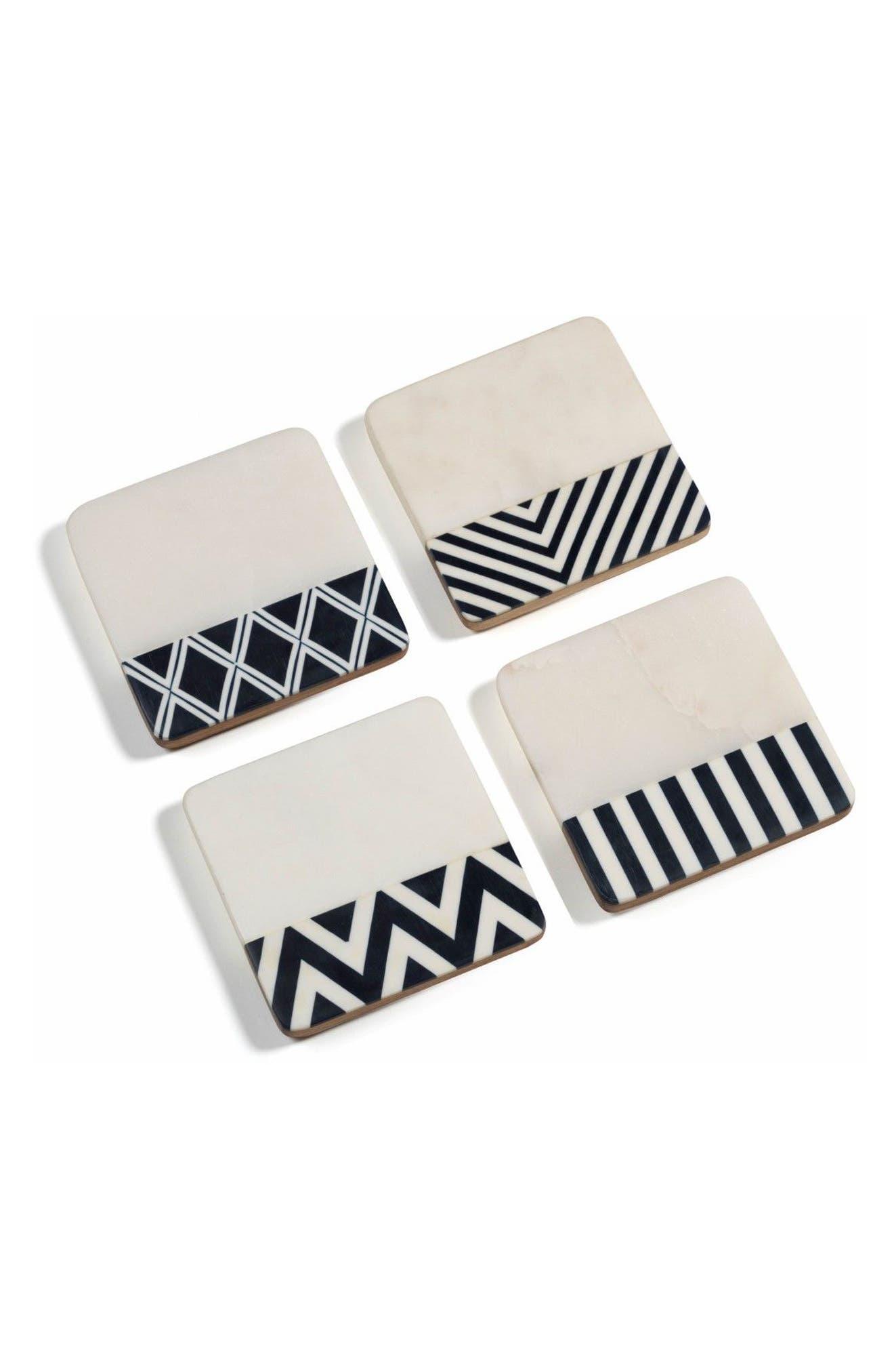 Marine Set of 4 Wood & Marble Coasters,                         Main,                         color, White/ Grey/ Black