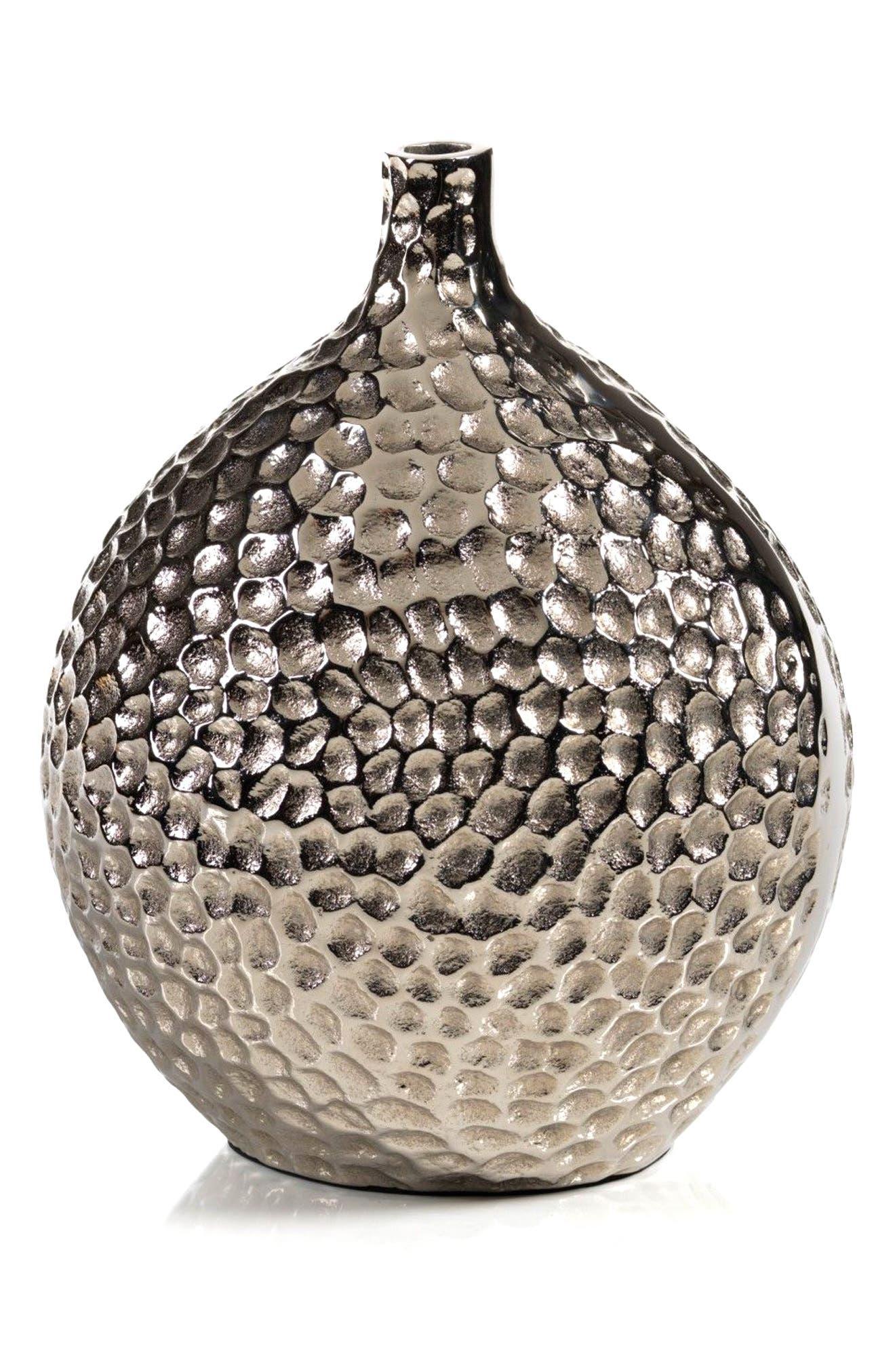 Crete Hammered Vase,                         Main,                         color, Silver