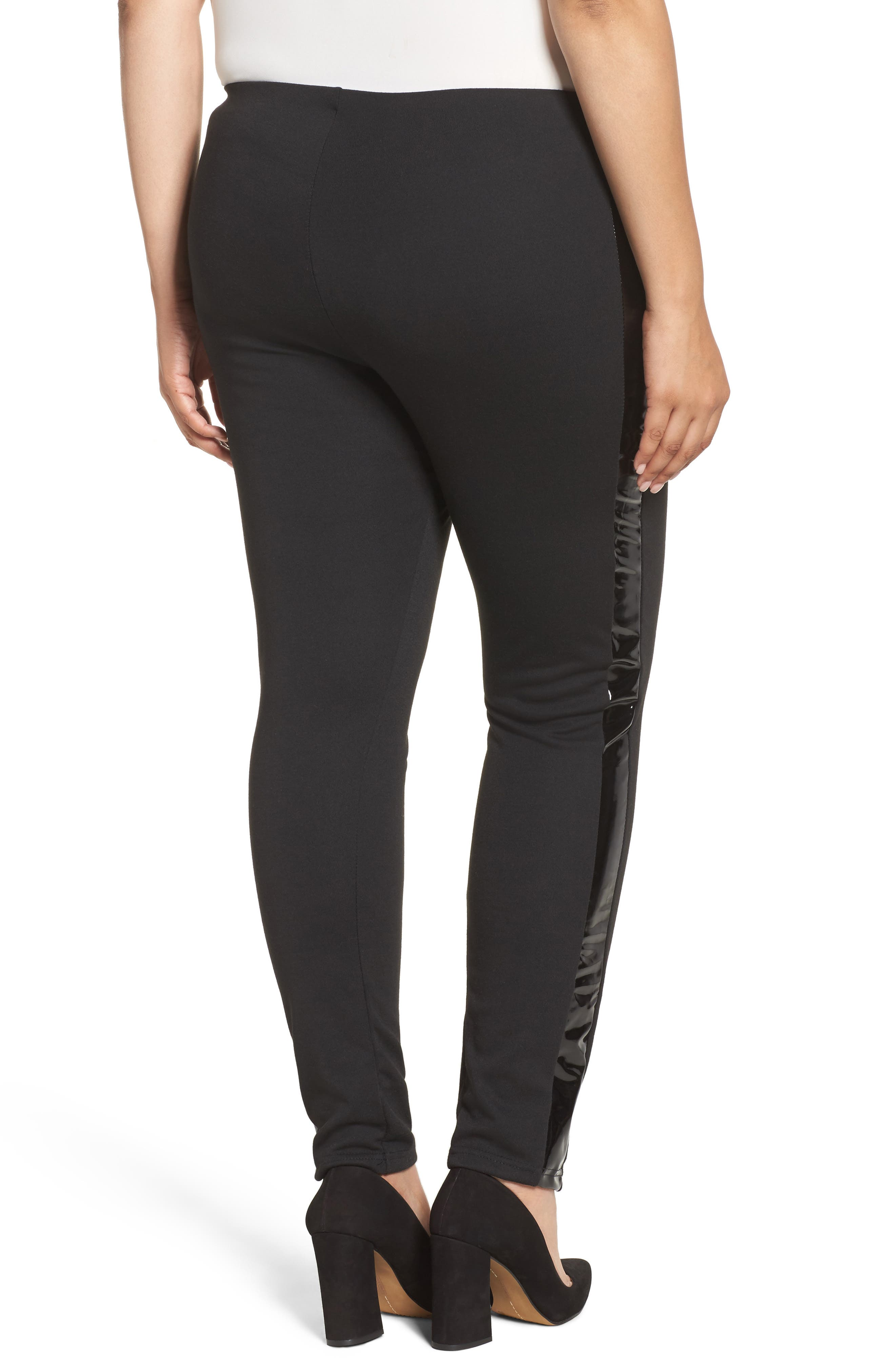 Skinny Pant with Vinyl Seam,                             Alternate thumbnail 2, color,                             Black