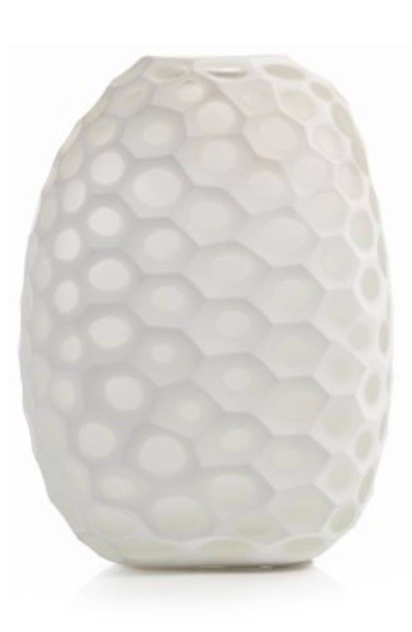 Kenji Glass Vase,                         Main,                         color, White