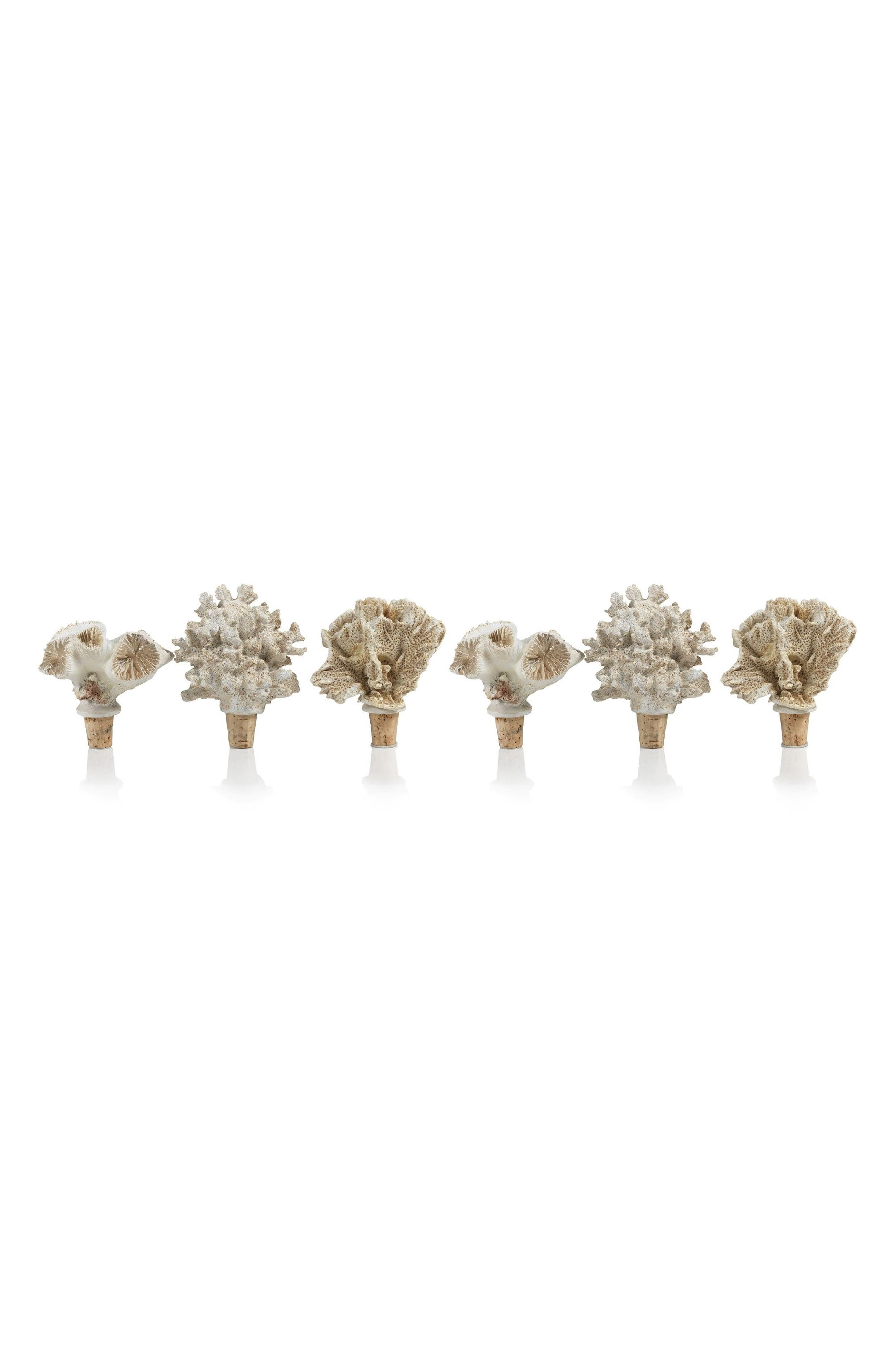 Sea Coral Set of 6 Bottle Stoppers,                         Main,                         color, Off-White